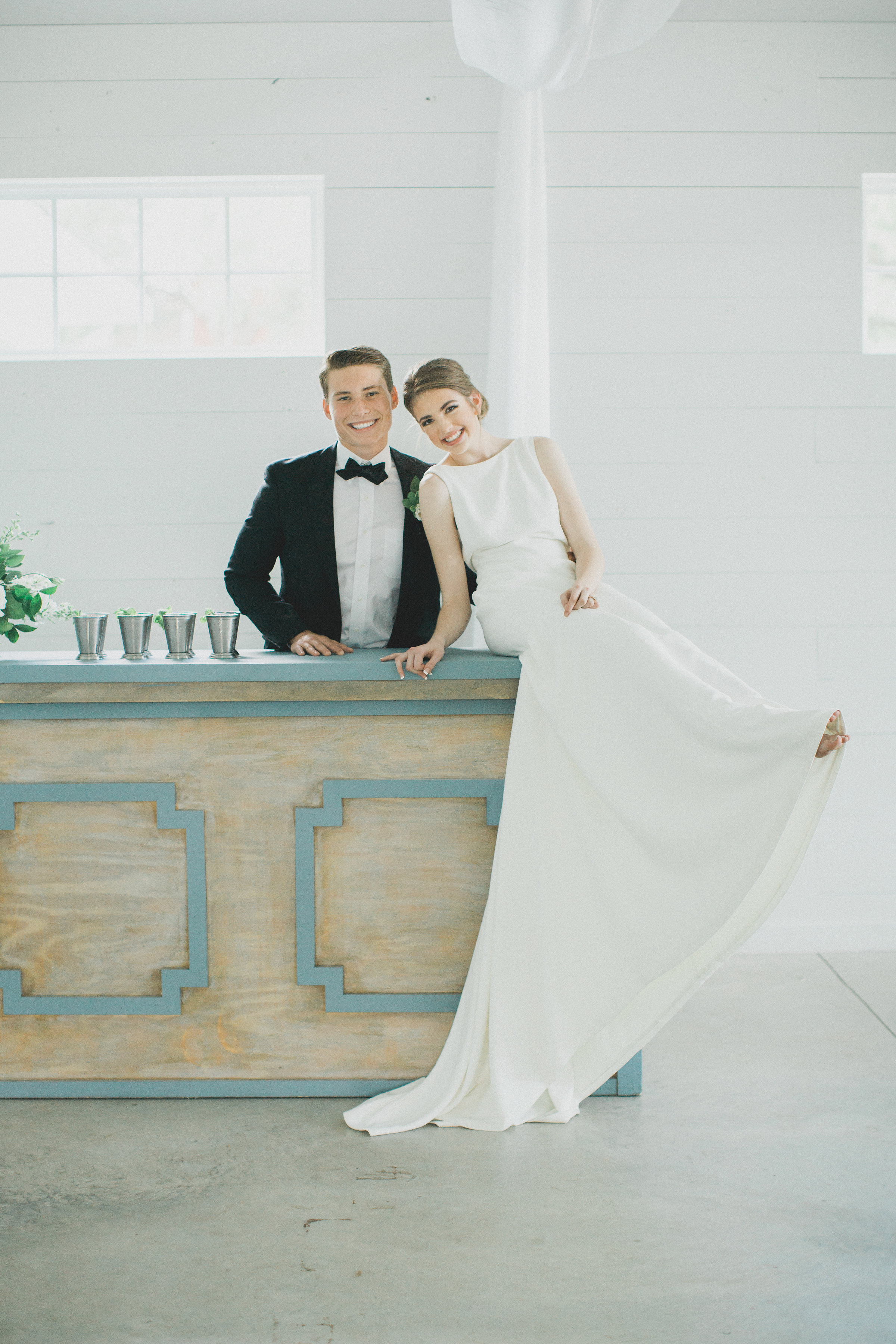 Custom Wedding Bar with Signature Cocktail Mint Juleps | Southern Summer White Barn Wedding in Dallas, TX