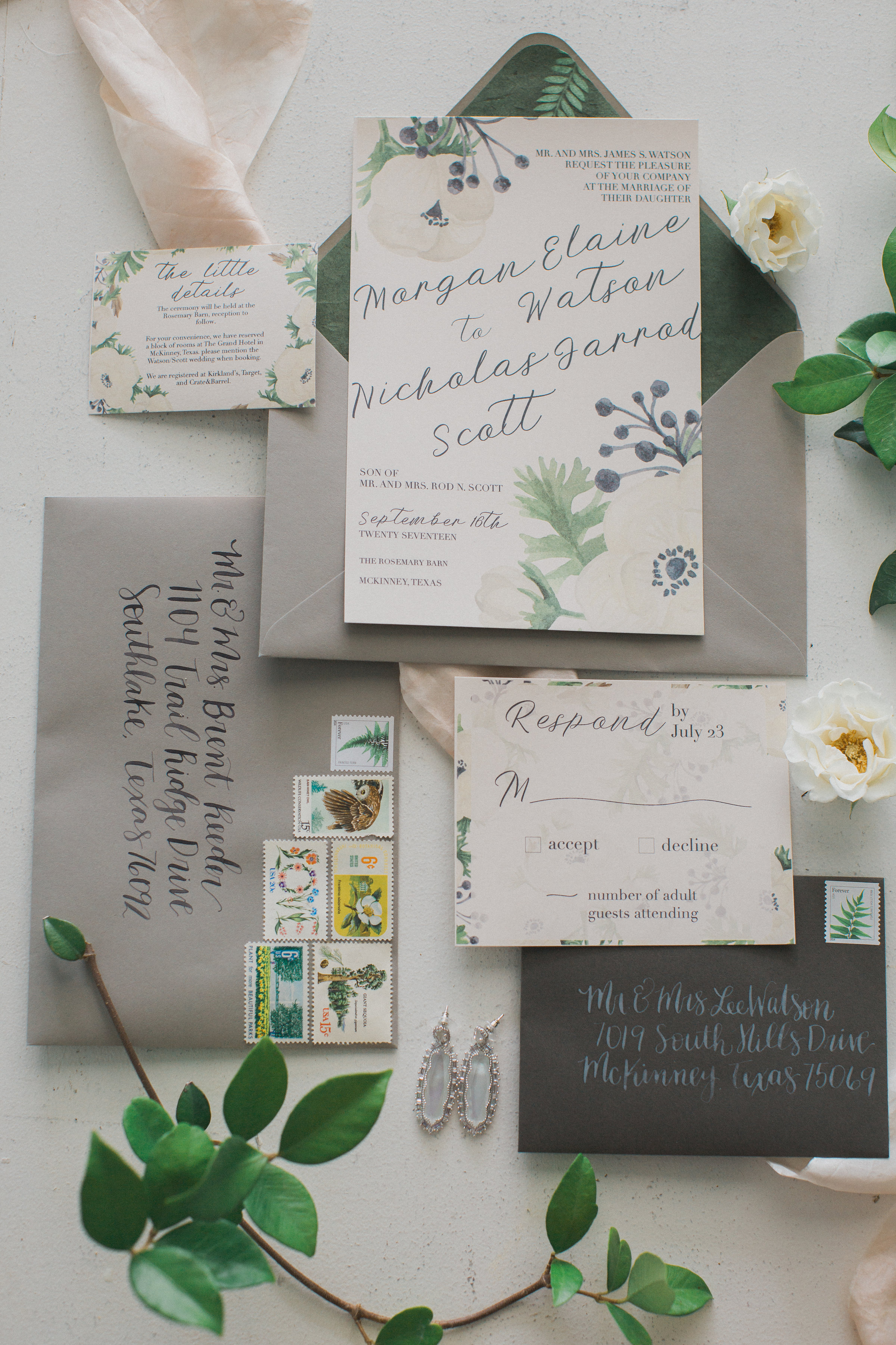 Southern Magnolia Inspired Wedding Invitation Suite | Southern Summer White Barn Wedding in Dallas, TX