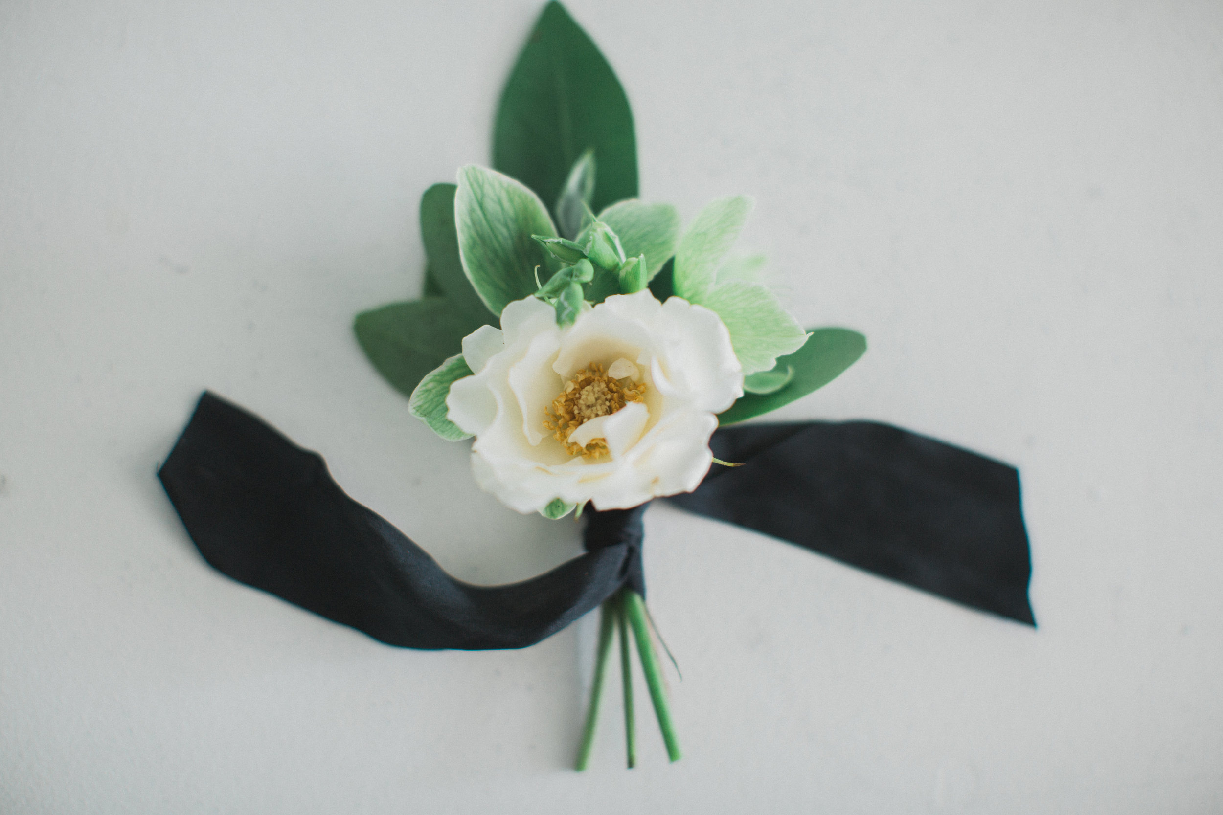 Simple White and Black Boutonniere | Southern Summer White Barn Wedding in Dallas, TX