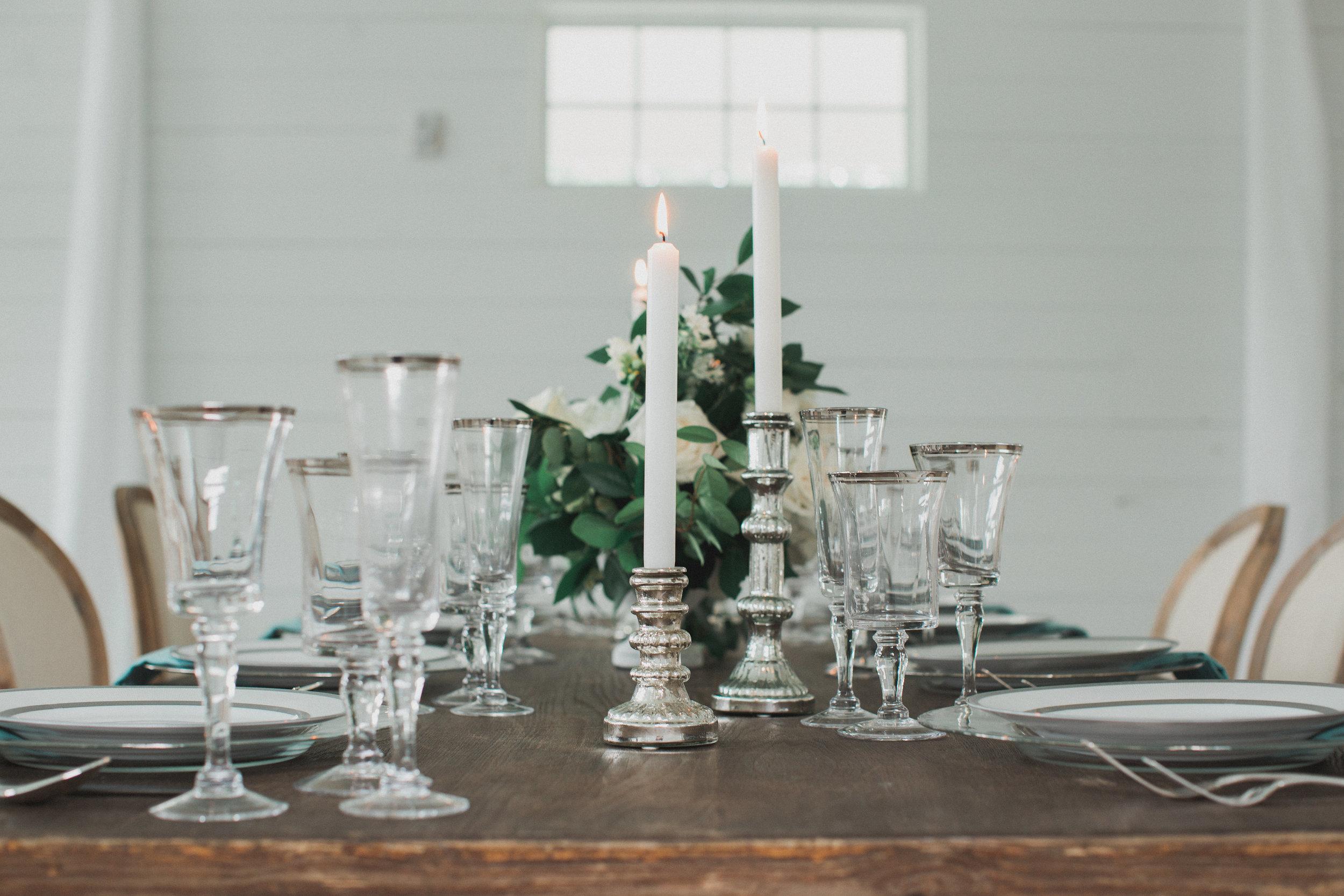 Silver Accent Wedding Head table | Southern Summer White Barn Wedding in Dallas, TX