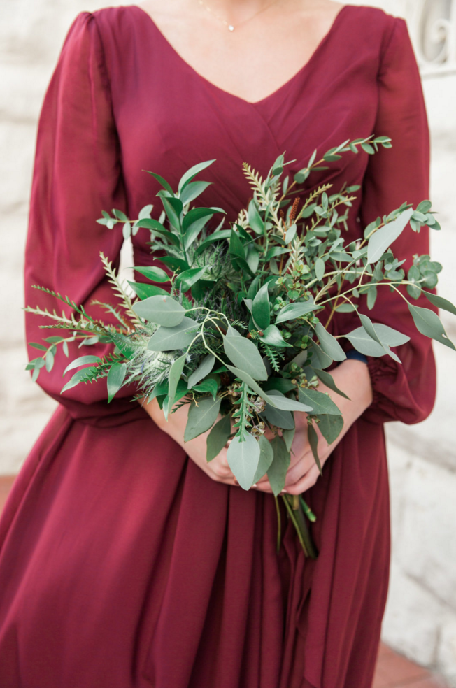 Greenery Bridesmaids Bouquets | Maroon and Navy Rustic Winter Wedding in Fort Worth, TX