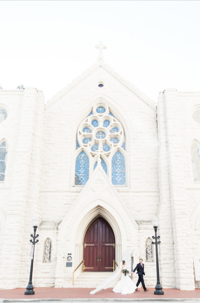 Bride and Groom Cathedral Wedding Portraits | Maroon and Navy Rustic Winter Wedding in Fort Worth, TX