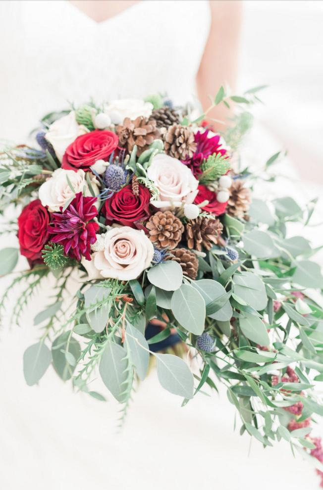 Maroon Winter Wedding Bridal Bouquet | Maroon and Navy Rustic Winter Wedding in Fort Worth, TX