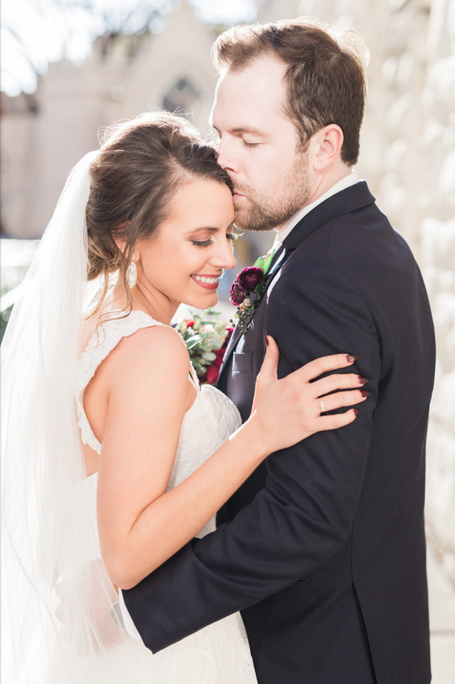 Bride and Groom Natural Light Portraits | Maroon and Navy Rustic Winter Wedding in Fort Worth, TX