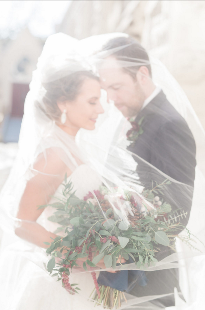 Bridal Veil Portraits | Maroon and Navy Rustic Winter Wedding in Fort Worth, TX