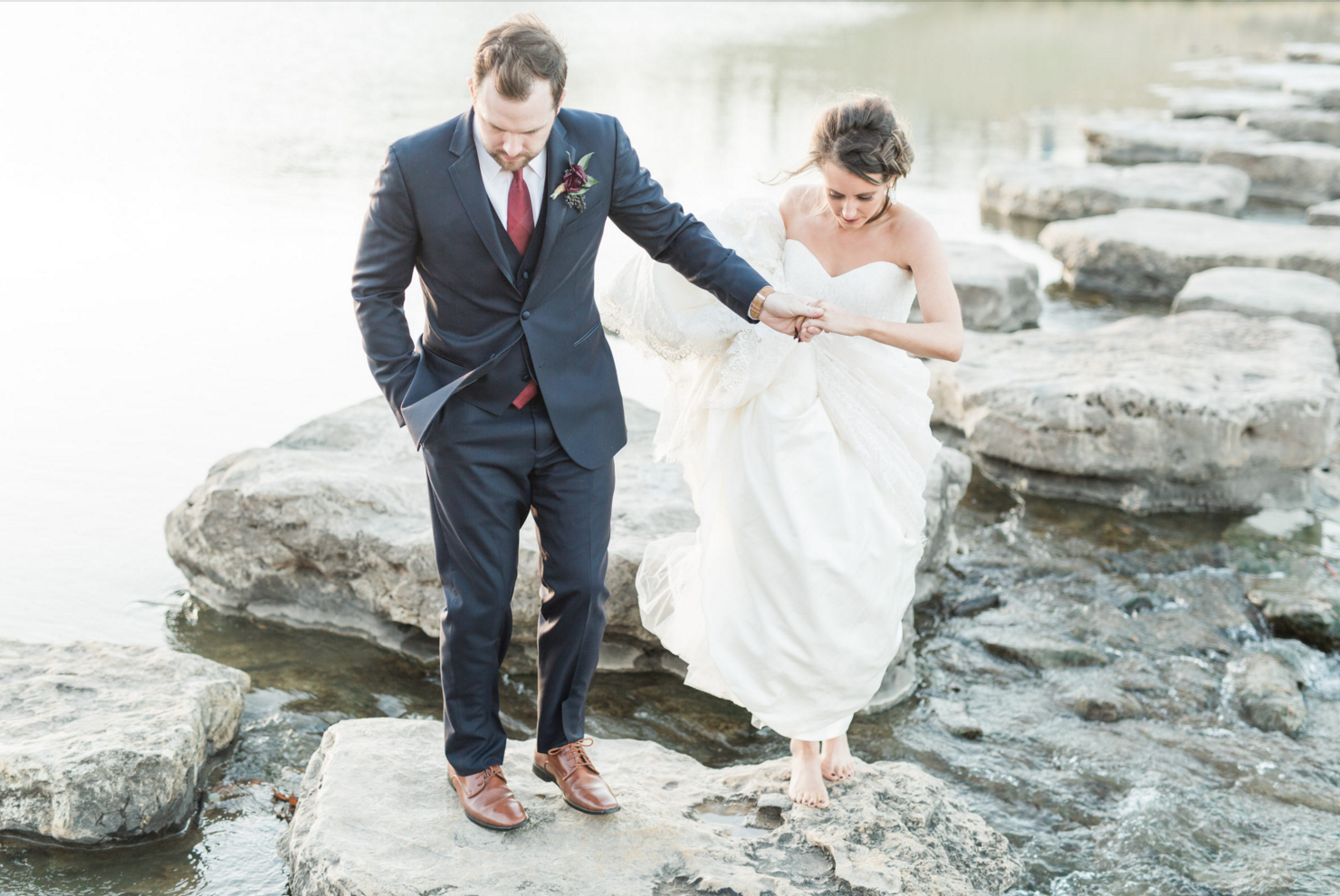 Just Married Bride and Groom Portraits | Maroon and Navy Rustic Winter Wedding in Fort Worth, TX