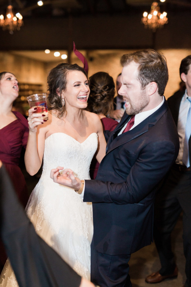Wedding Dance Party | Maroon and Navy Rustic Winter Wedding in Fort Worth, TX
