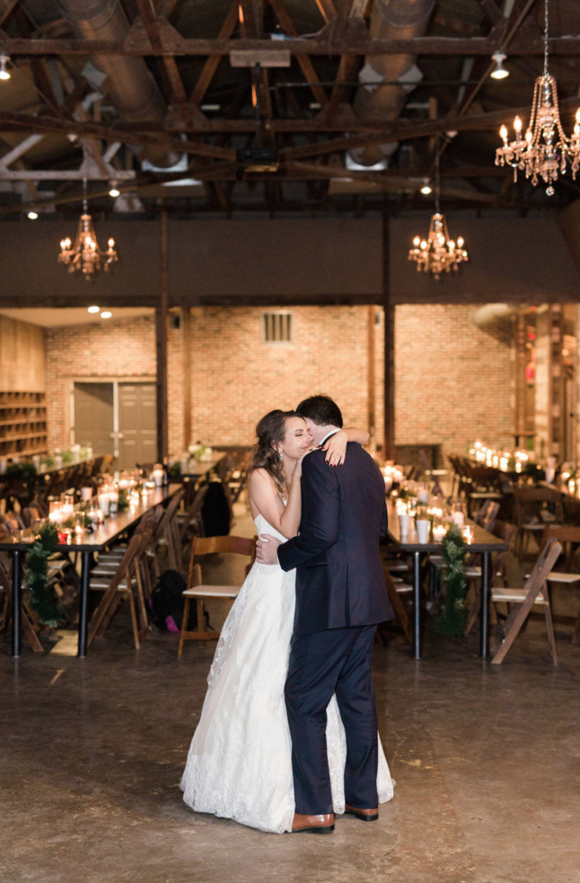Bride and Groom Private Last Dance | Maroon and Navy Rustic Winter Wedding in Fort Worth, TX