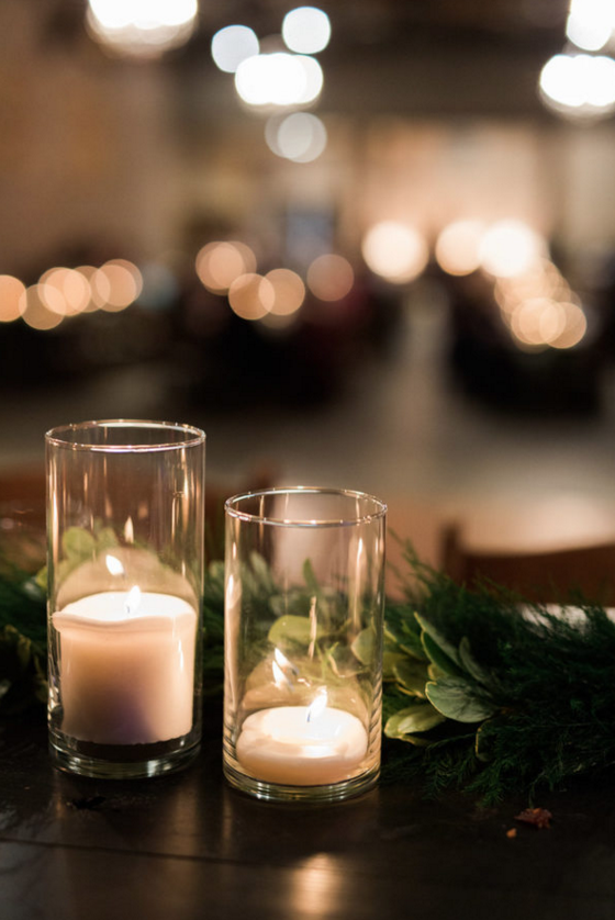 Candlelit Wedding Reception with Wood Farm Tables | Maroon and Navy Rustic Winter Wedding in Fort Worth, TX