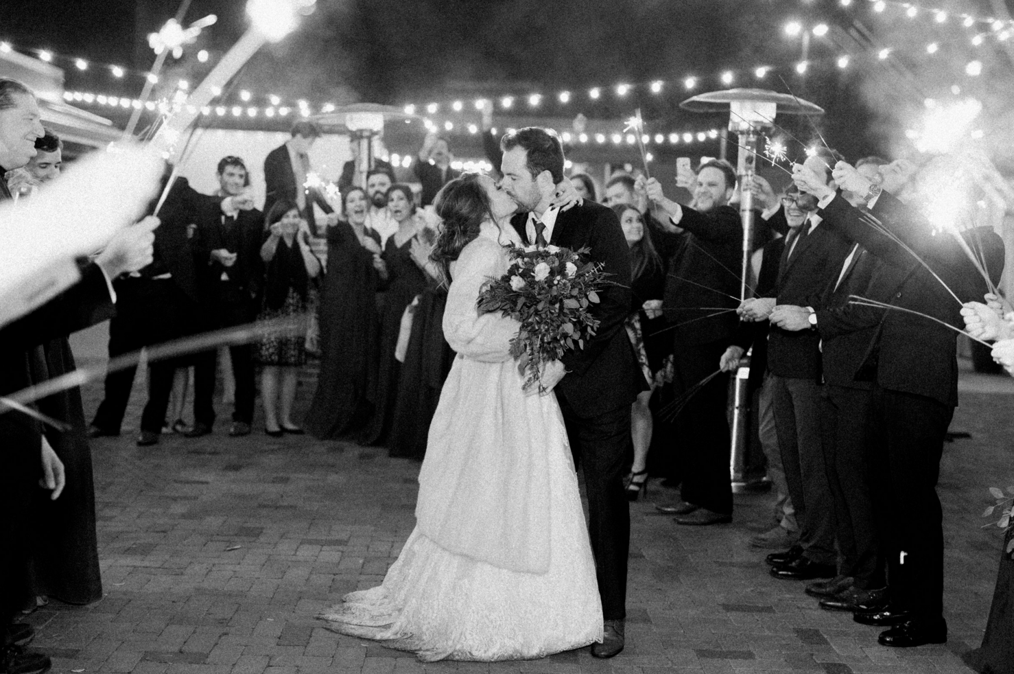 Wedding Sparkler Exit | Maroon and Navy Rustic Winter Wedding in Fort Worth, TX