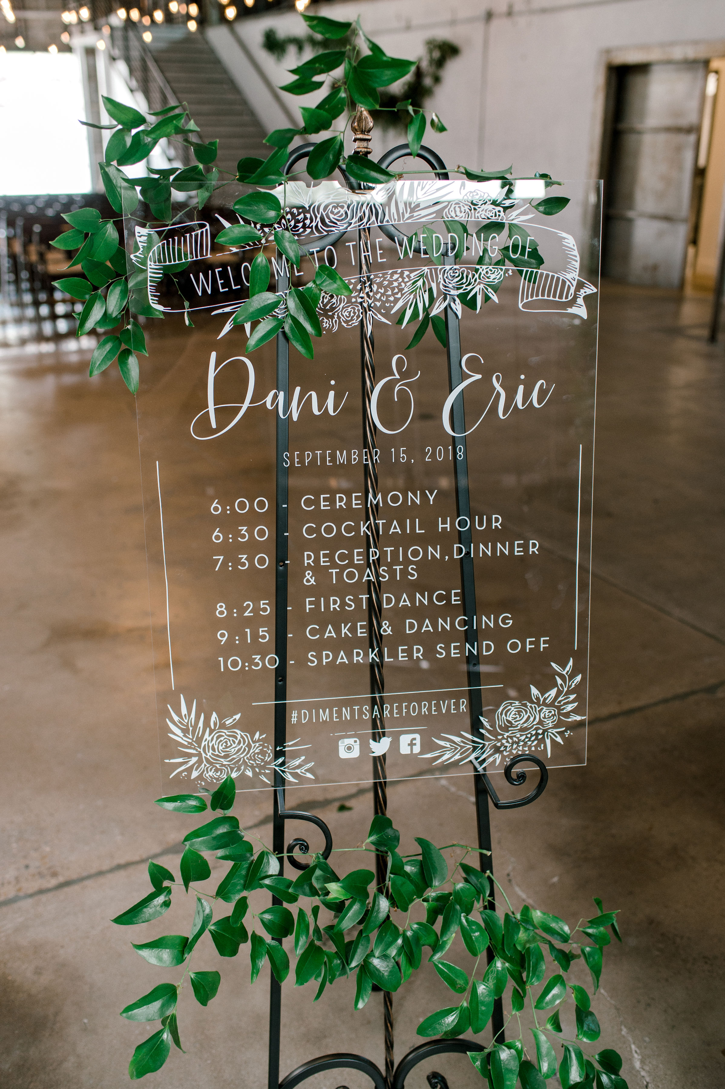 Acrylic Wedding Welcome Sign | Industrial Bohemian Wedding Reception in Downtown Fort Worth
