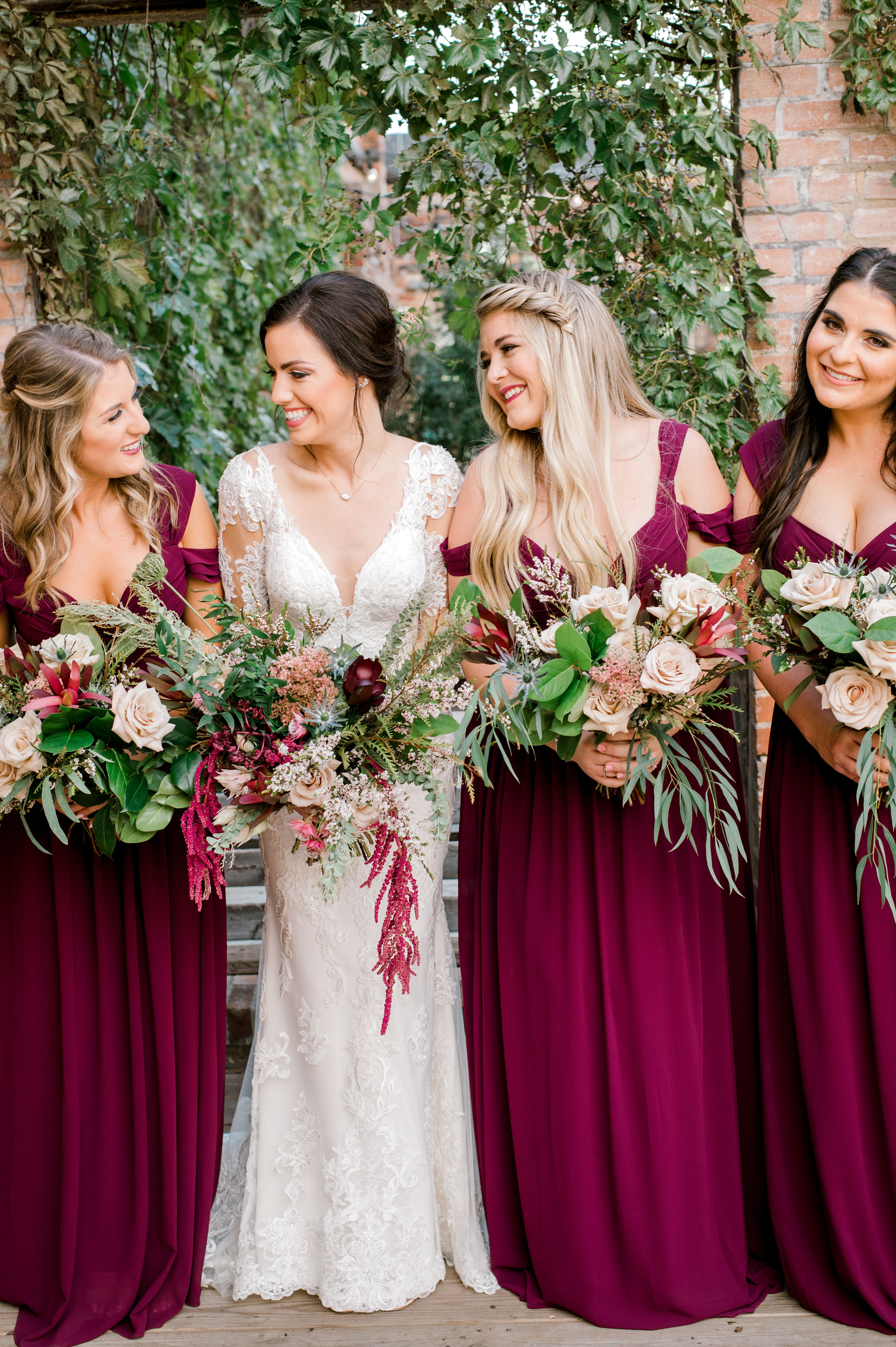 Maroon Bridesmaids Dresses | Fall Vintage Industrial Wedding in Fort Worth