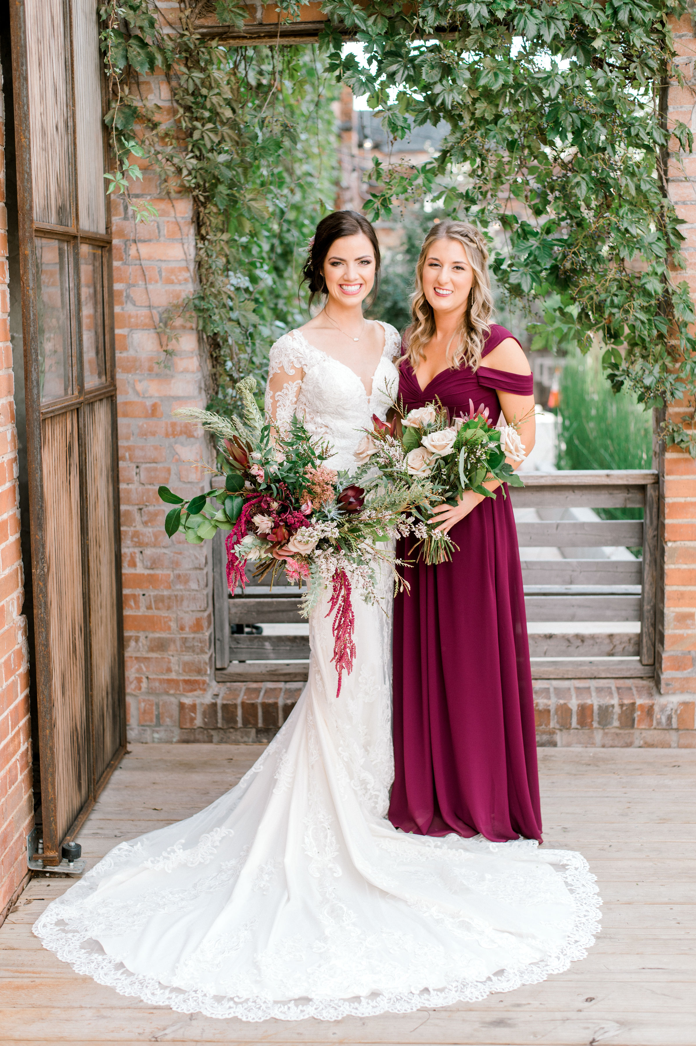 Fall Maroon Bridesmaids Dresses | Industrial Modern Wedding in Downtown Fort Worth