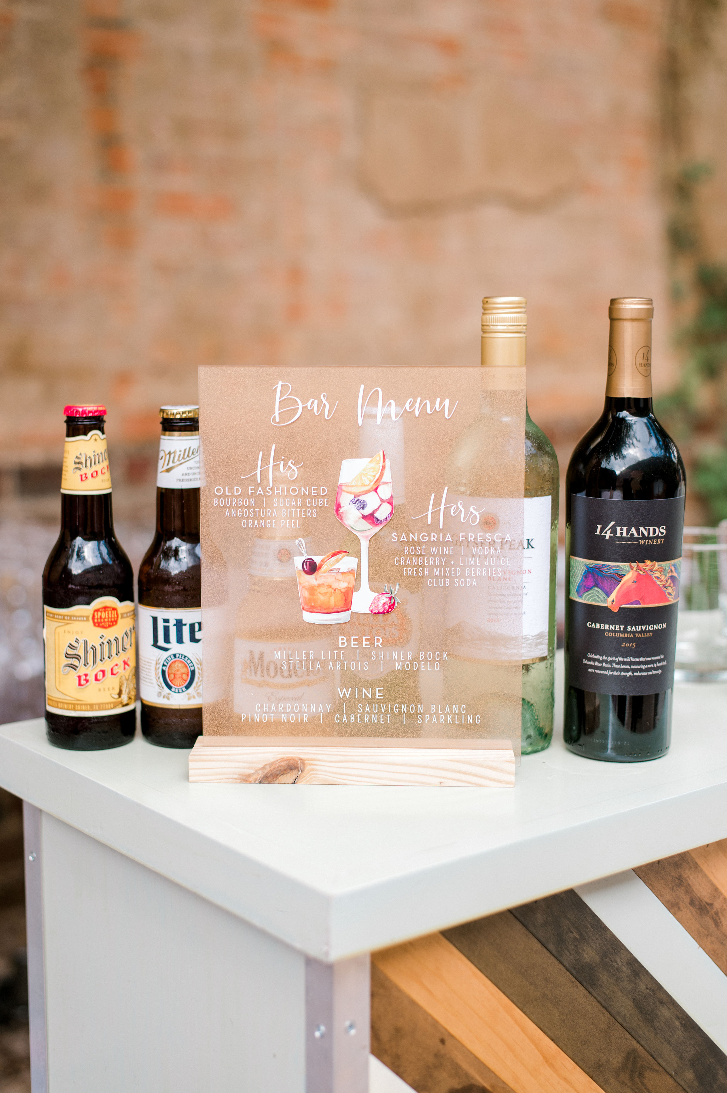 Custom Wedding Bar Sign Acrylic | Modern Industrial Wedding Reception in Downtown Fort Worth