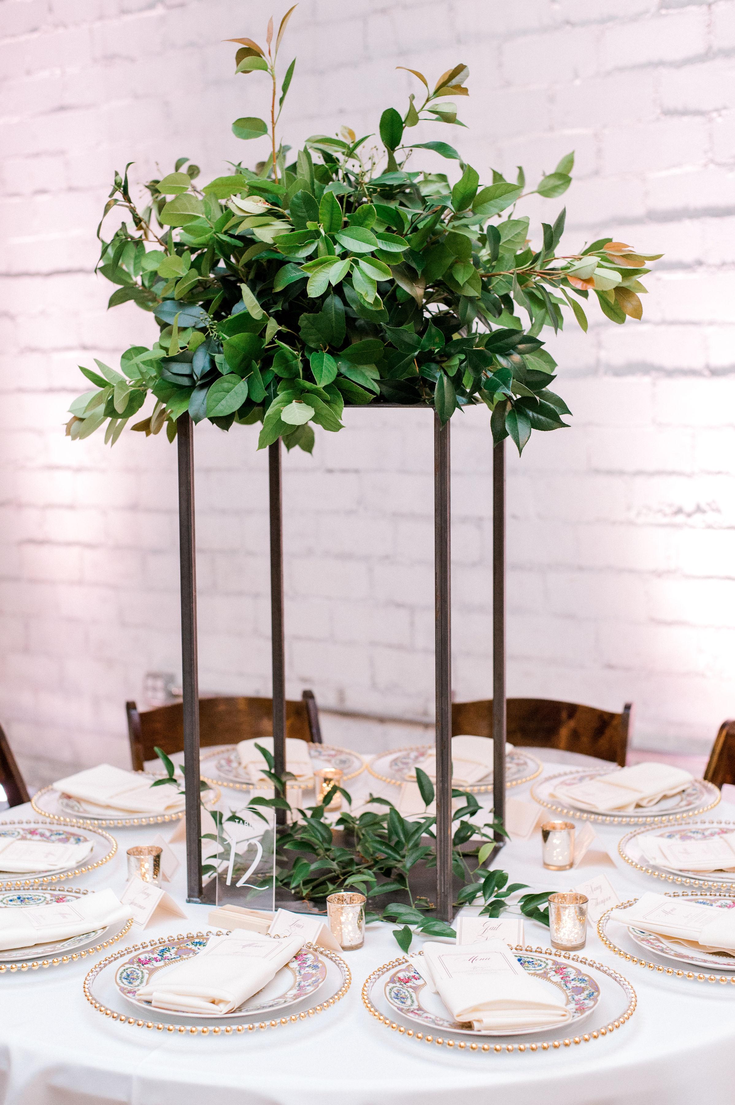 Organic Greenery Table Arrangement | Modern Industrial Downtown Fort Worth Wedding