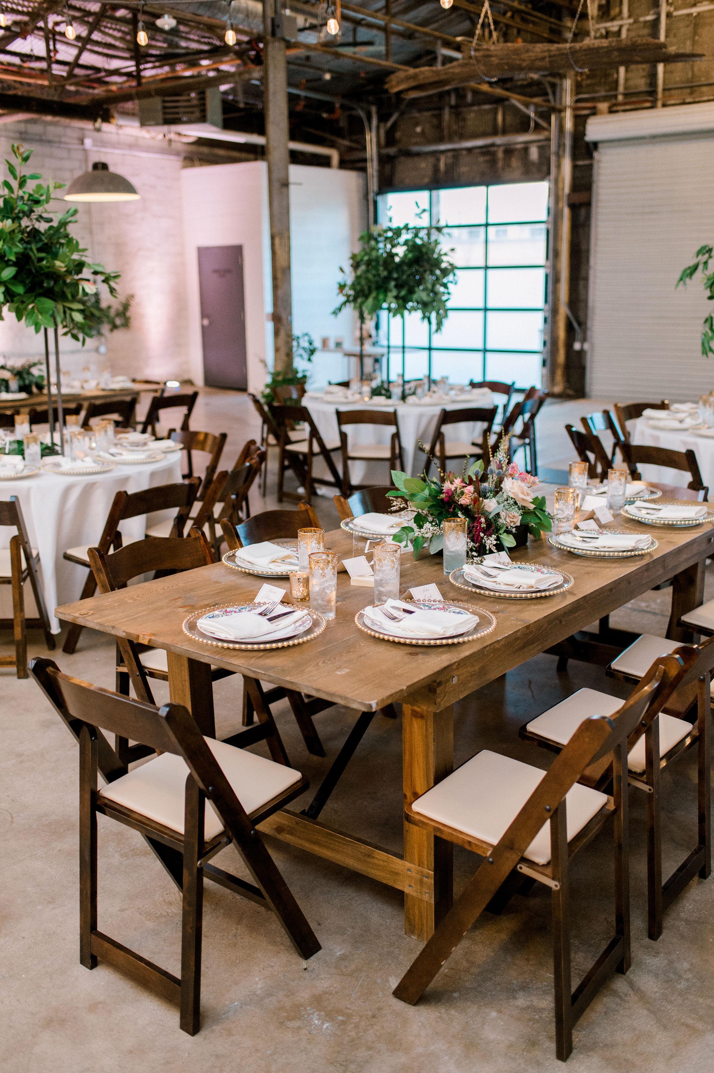 Vintage Industrial Wedding Reception | Downtown Fort Worth Wedding