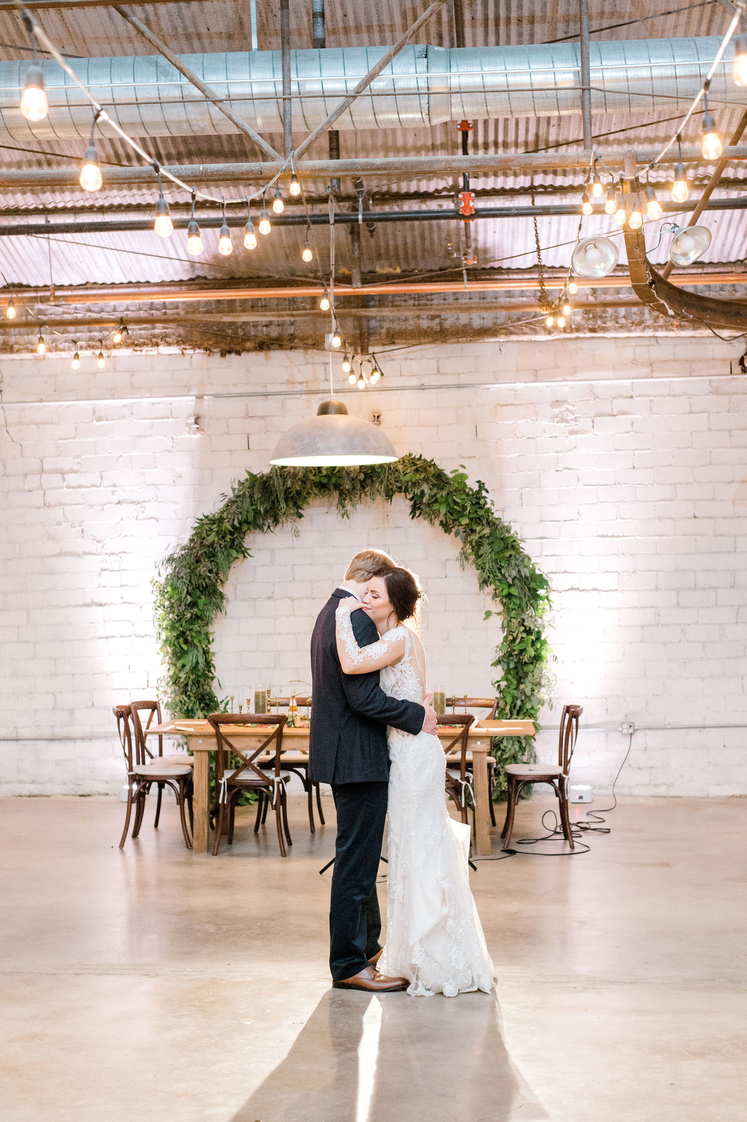 Bride and Groom Last Dance | Modern Industrial Fall Wedding Reception in Downtown Fort Worth