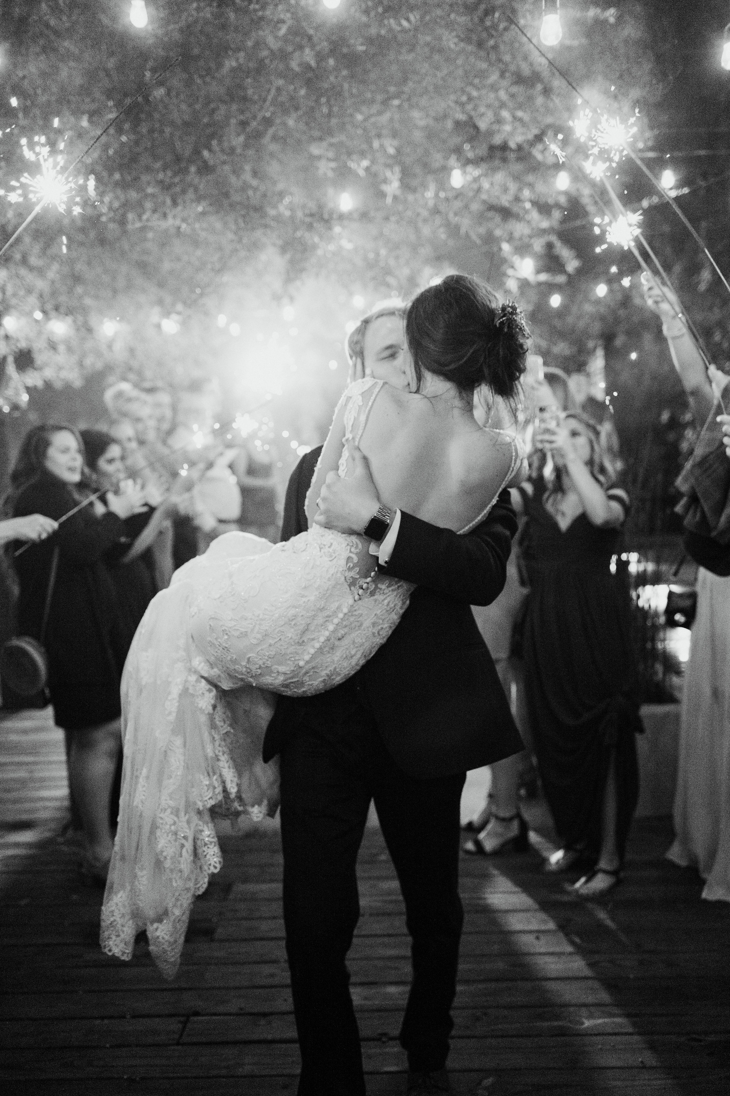 Wedding Sparkler Grand Exit | Modern Industrial Fall Downtown Fort Worth Wedding