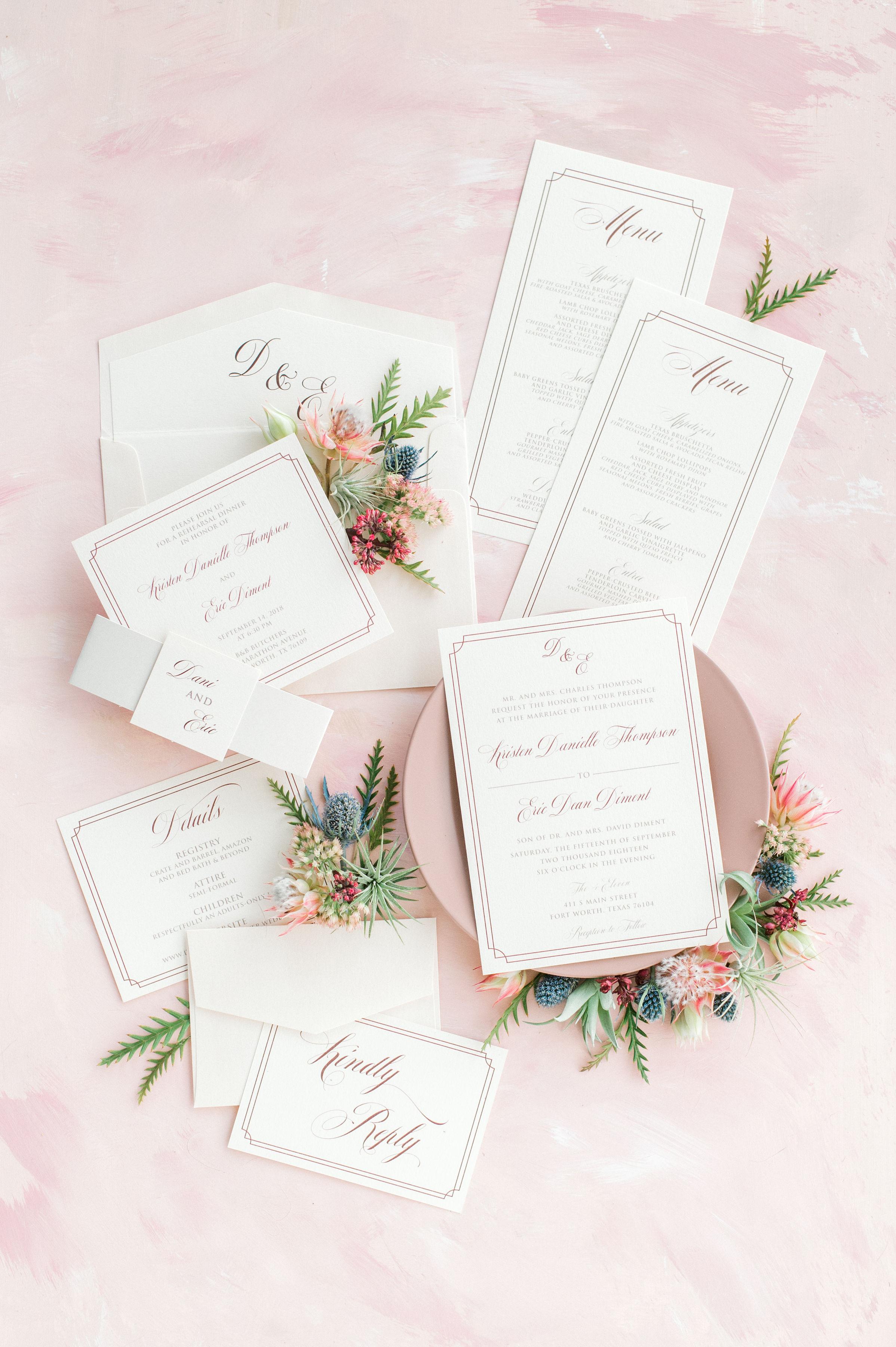 Formal Custom Wedding Invitation Suite | Industrial Bohemian Vintage Wedding Reception