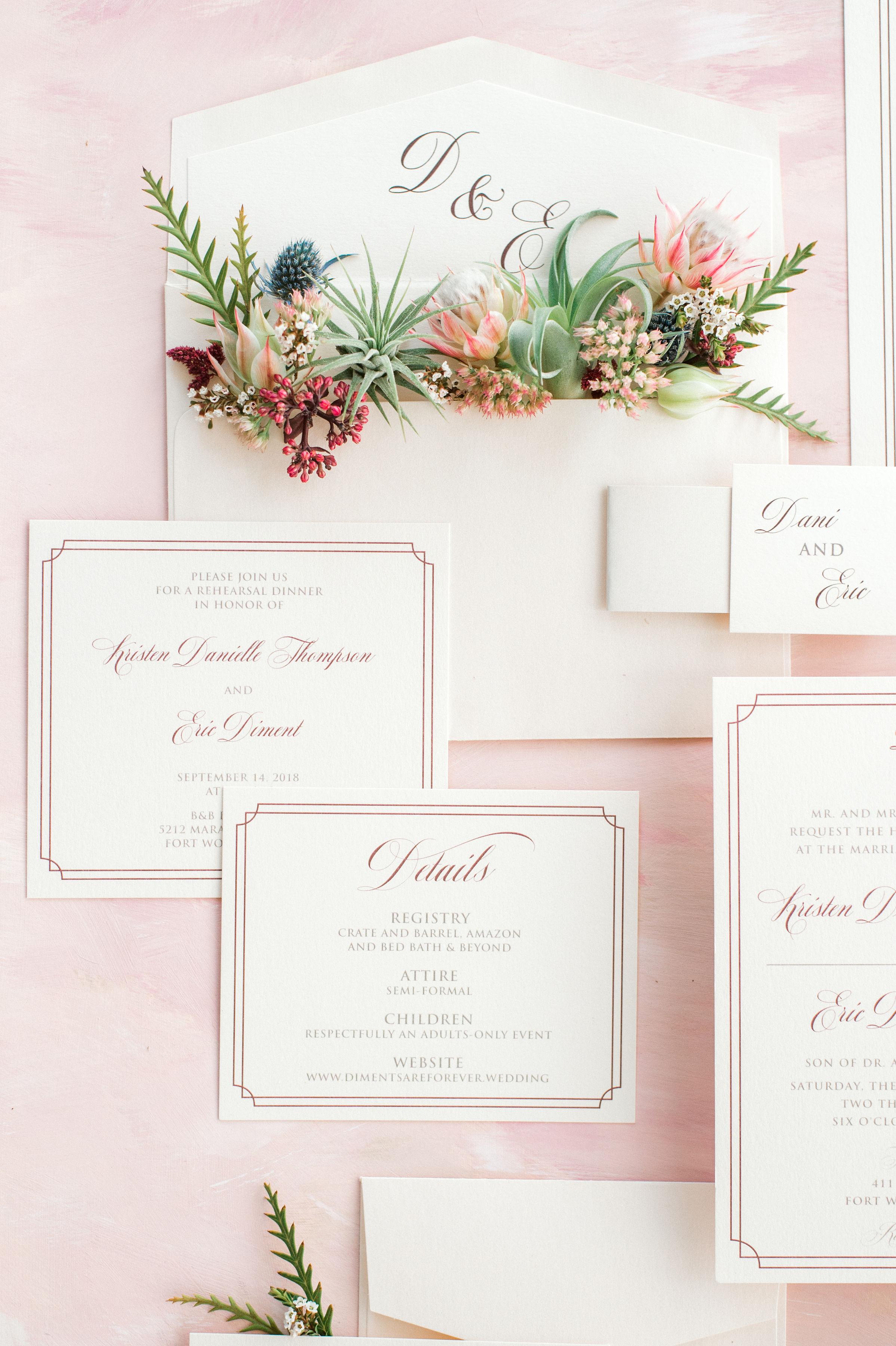 Formal Custom Wedding Invitations | Fall Eclectic Industrial Wedding Style