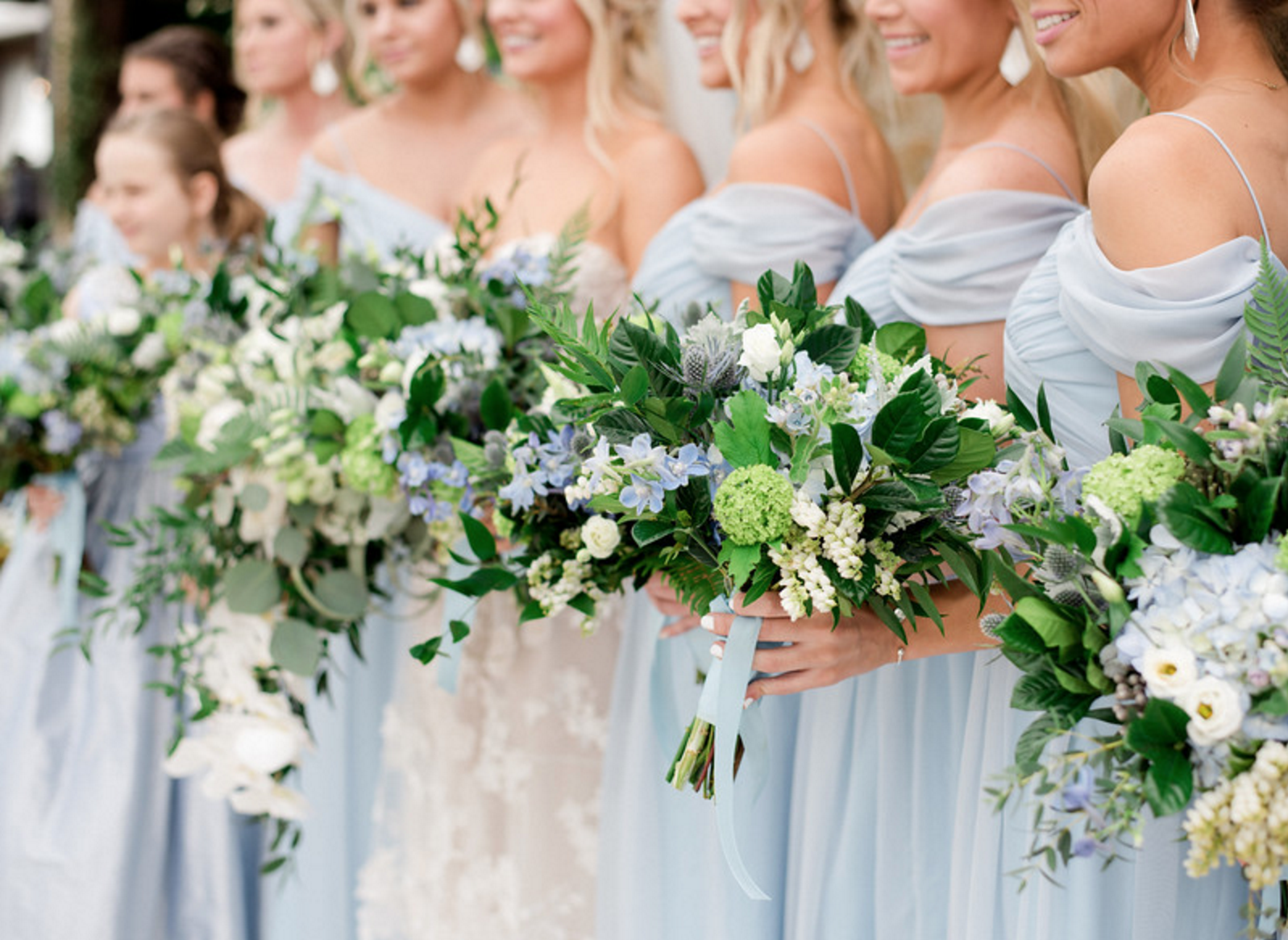Ice Blue Bridesmaids Dresses | Spring Texas Vineyard Wedding