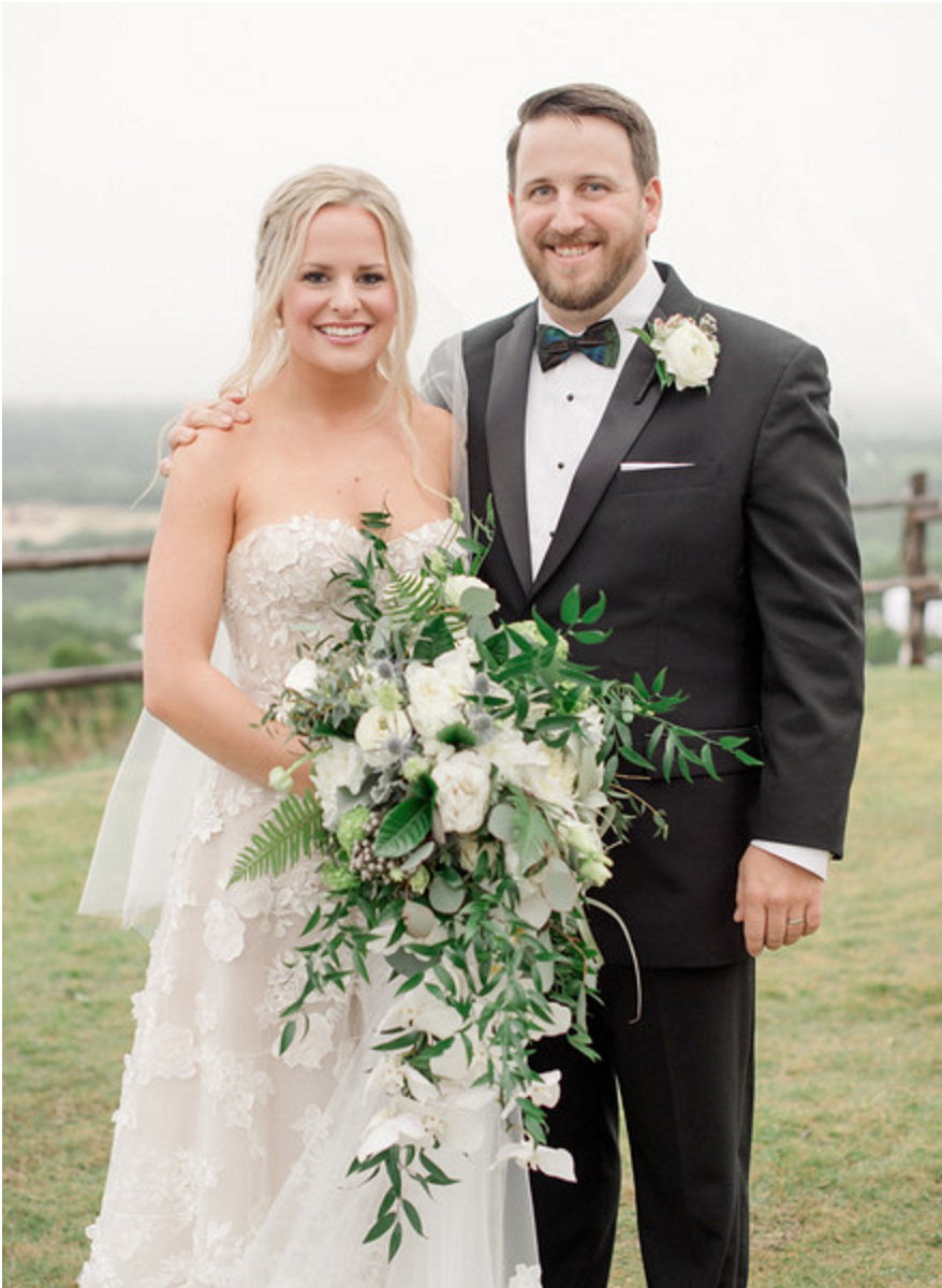 Organic Cascading Bridal Bouquet | Spring Texas Vineyard Wedding
