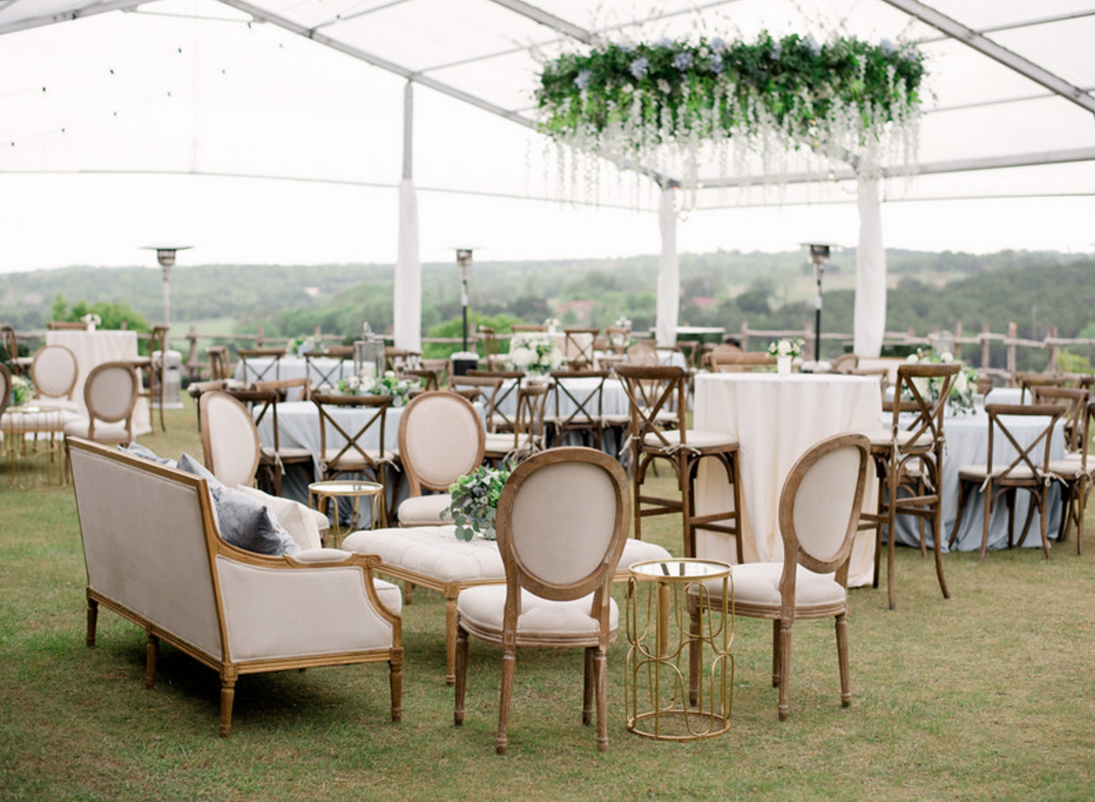 Outdoor Tent Wedding Reception | Spring Texas Vineyard Wedding
