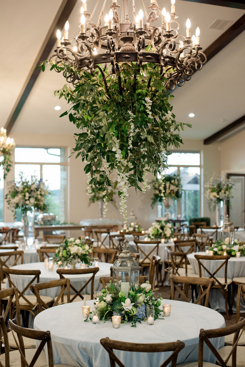 Greenery Chandelier Installation | Spring Texas Vineyard Wedding