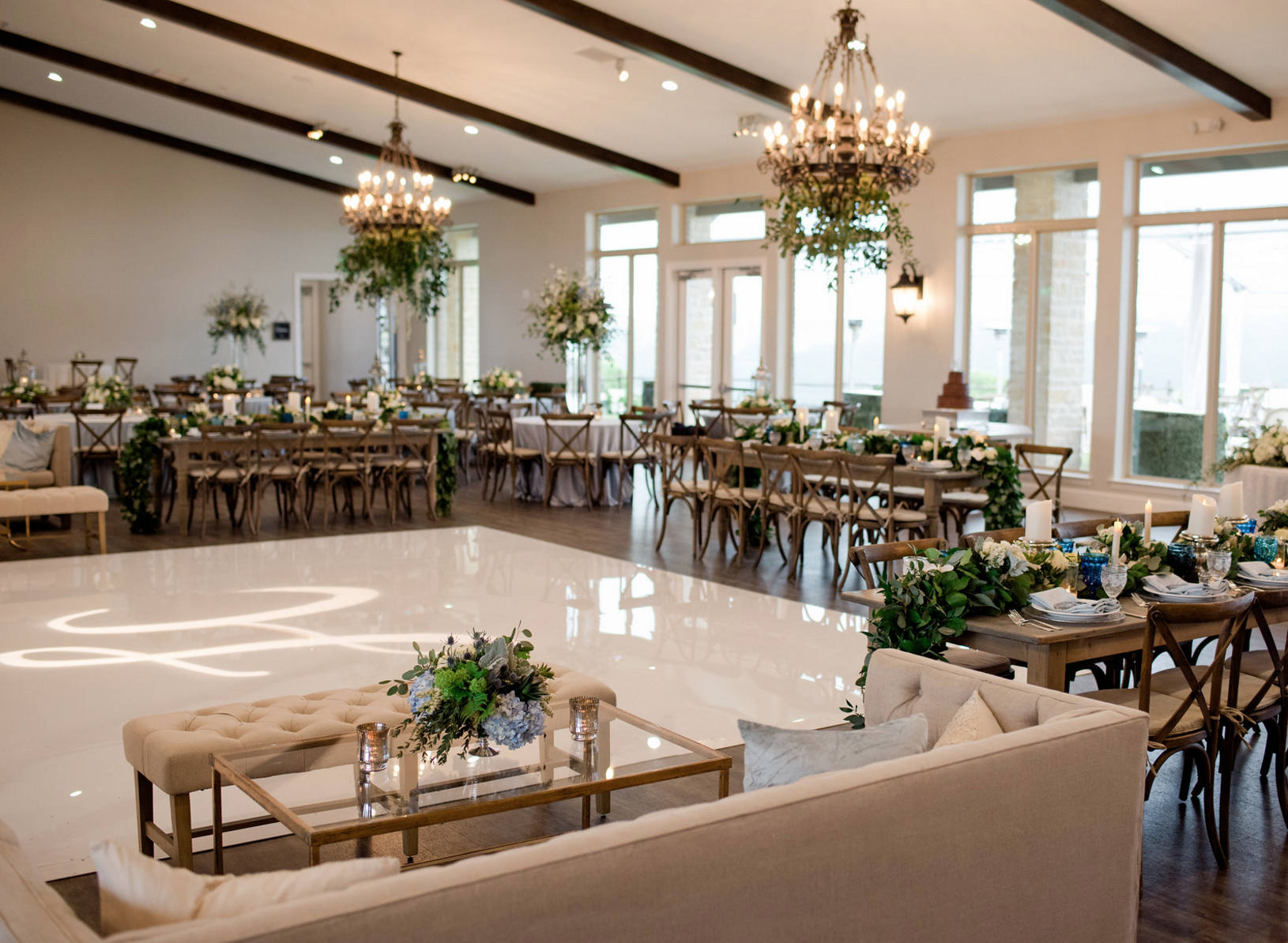 Organic Blue and Silver Wedding Reception | Spring Texas Vineyard Wedding