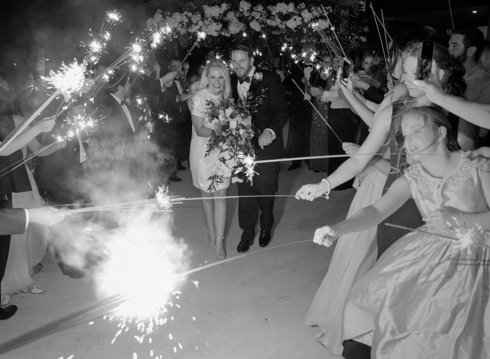 Wedding Sparkler Grand Exit | Spring Texas Vineyard Wedding
