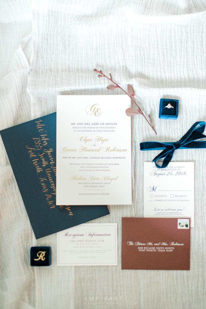 Simple Formal Wedding Invitations | Formal Vintage Fall Wedding