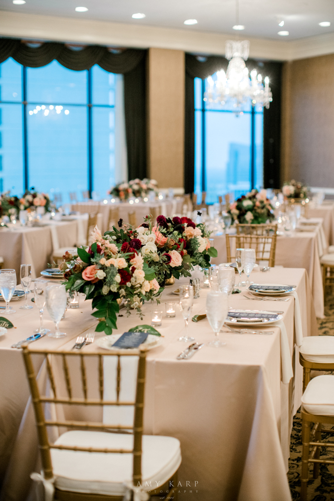 Formal Downtown Fort Worth Wedding | Fall Vintage Maroon and Navy Wedding