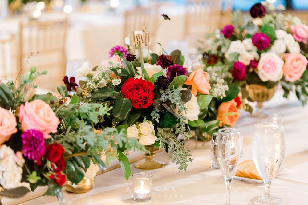 Wedding Reception Floral Runner | Fall Formal Maroon and Navy Wedding Design