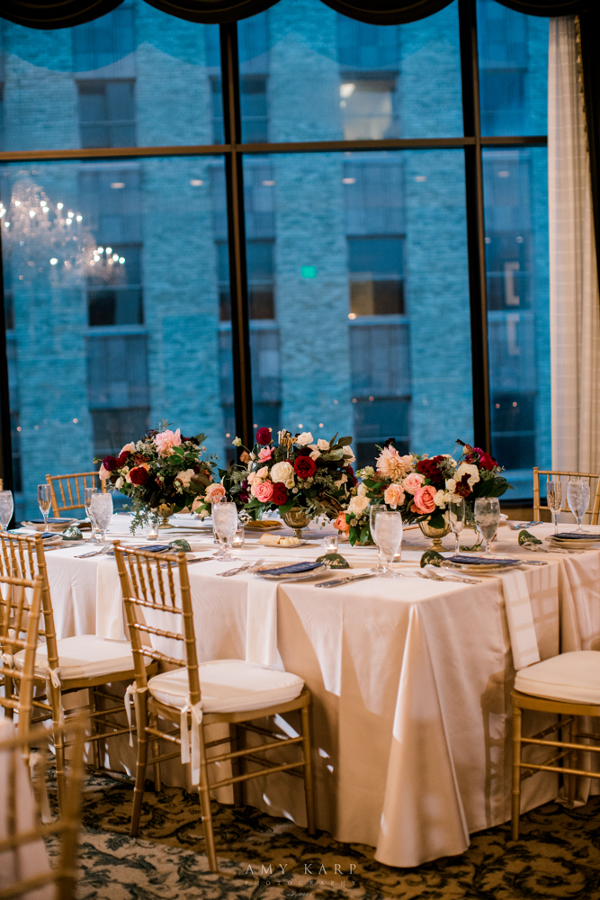 Formal Downtown Fort Worth Wedding | Maroon and Navy Fall Wedding