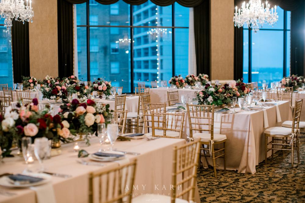 Formal Ballroom Fall Wedding | Maroon and Navy Vintage Fall Wedding Design