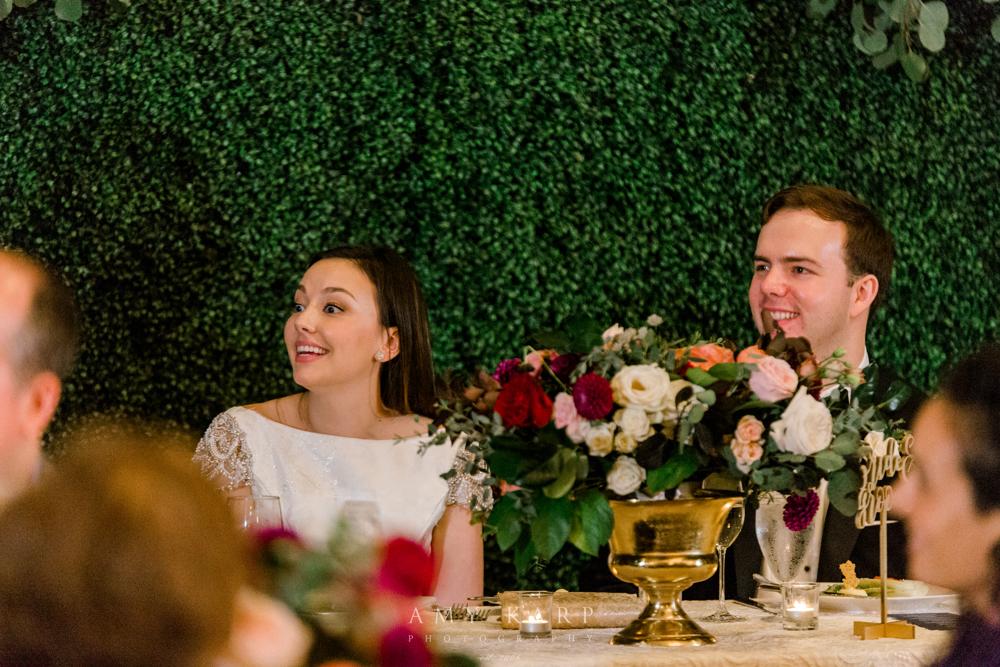 Sweetheart Table Wedding Design | Formal Fall Wedding Maroon and Navy