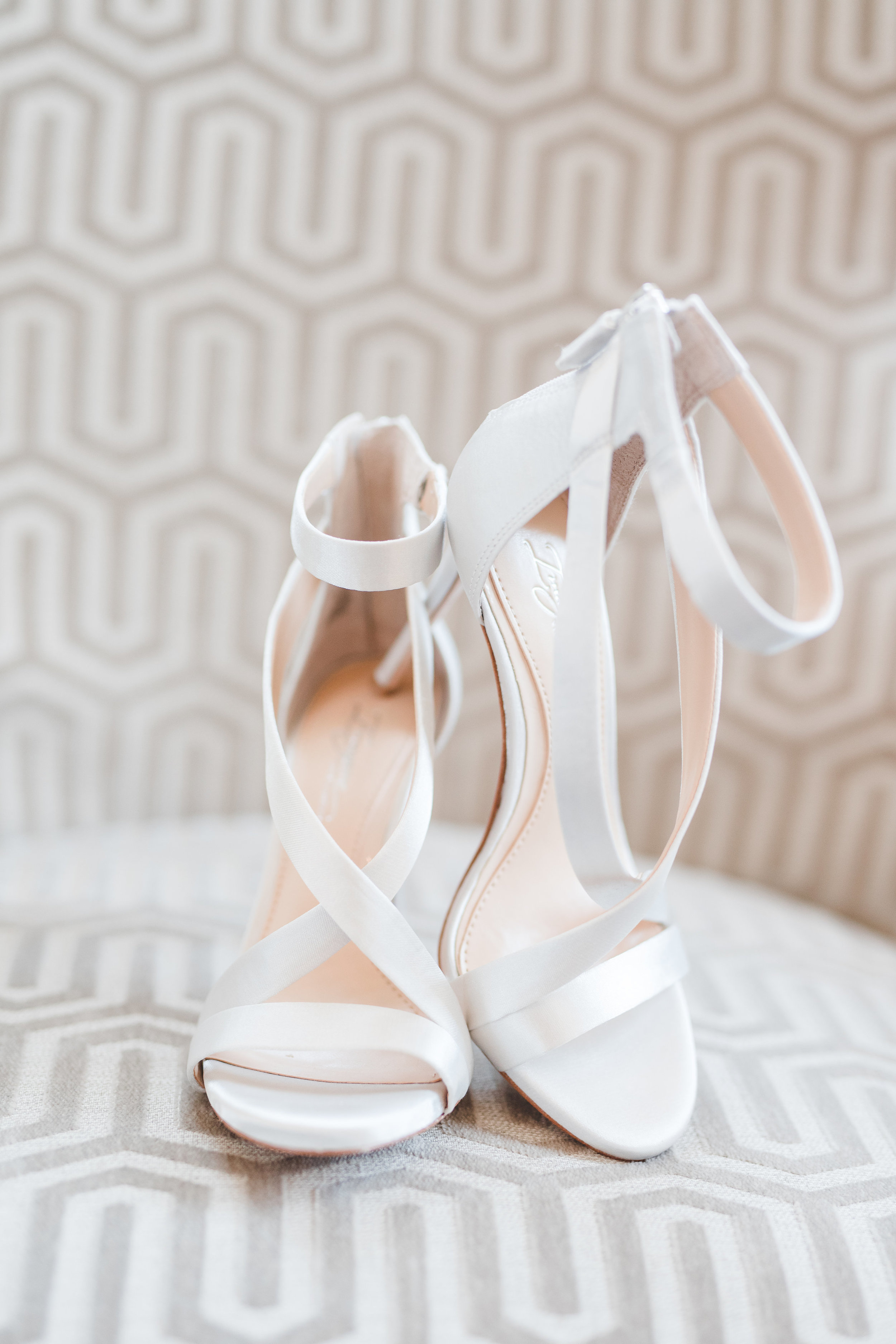 Classic White Wedding Shoes | Rose Gold and Dusty Blue Winter Wedding in Dallas, TX