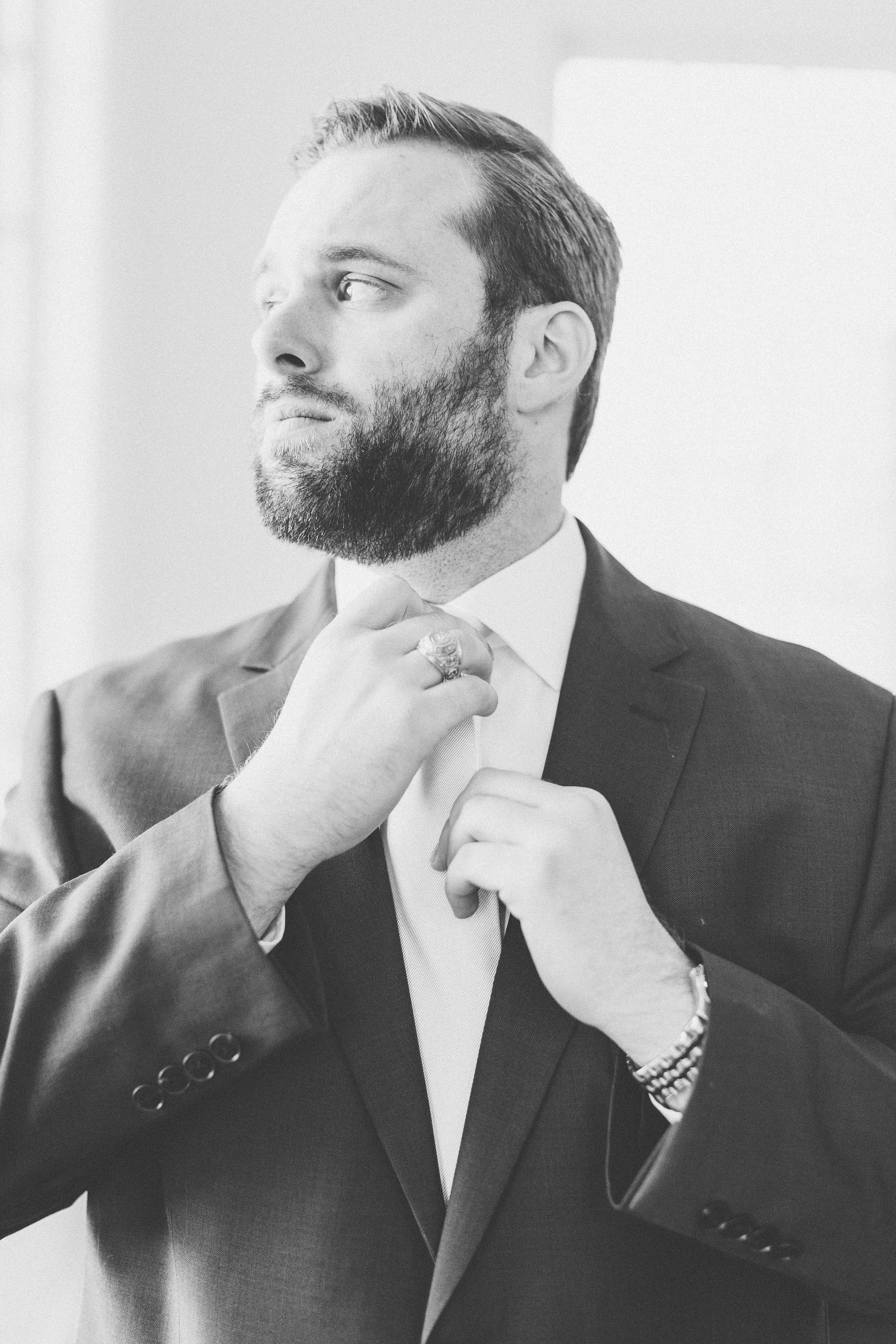 Classic Wedding Day Groom Outfit | Rose Gold and Dusty Blue Winter Wedding in Dallas, TX