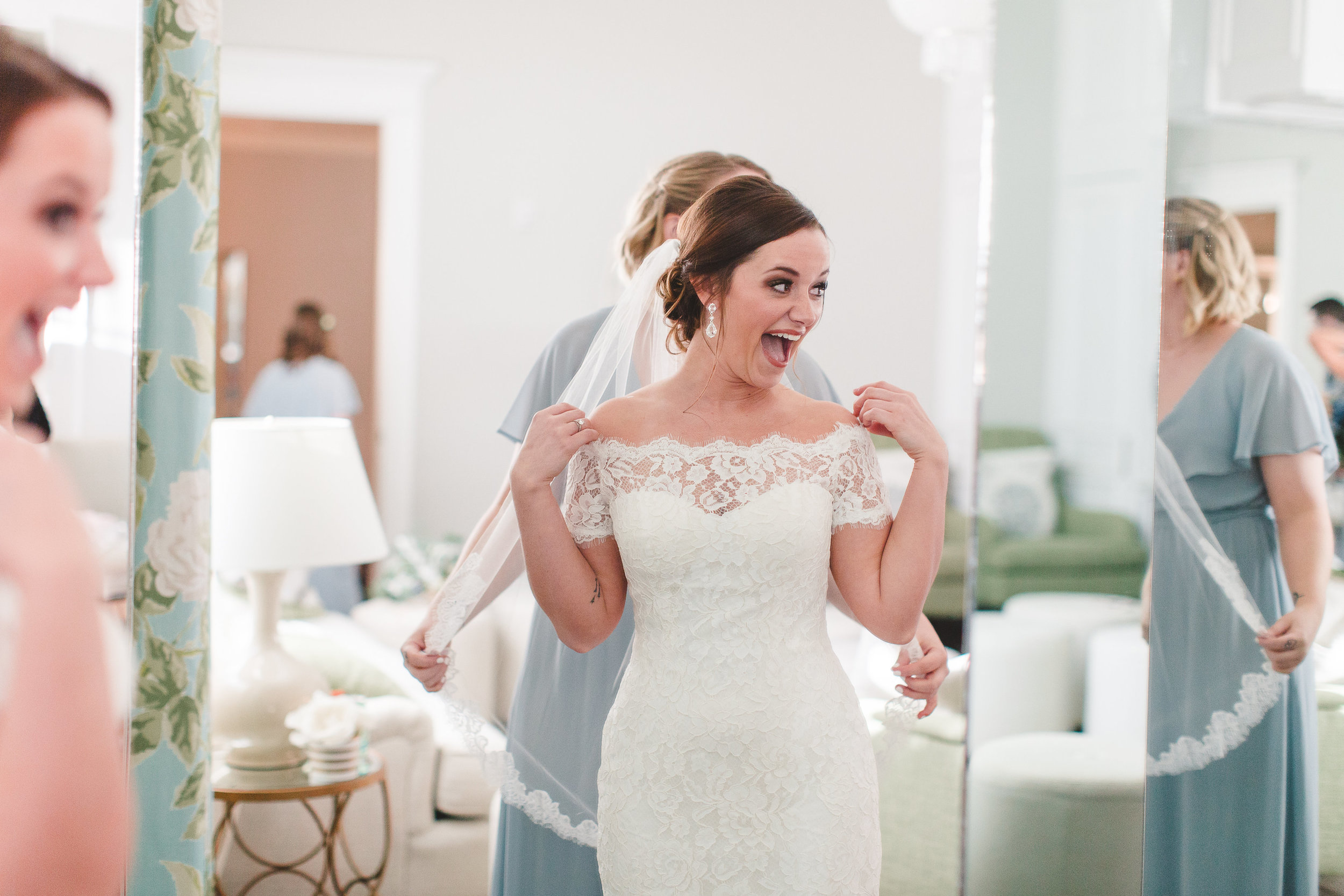 Off the Shoulder Lace Wedding Gown | Rose Gold and Dusty Blue Winter Wedding in Dallas, TX
