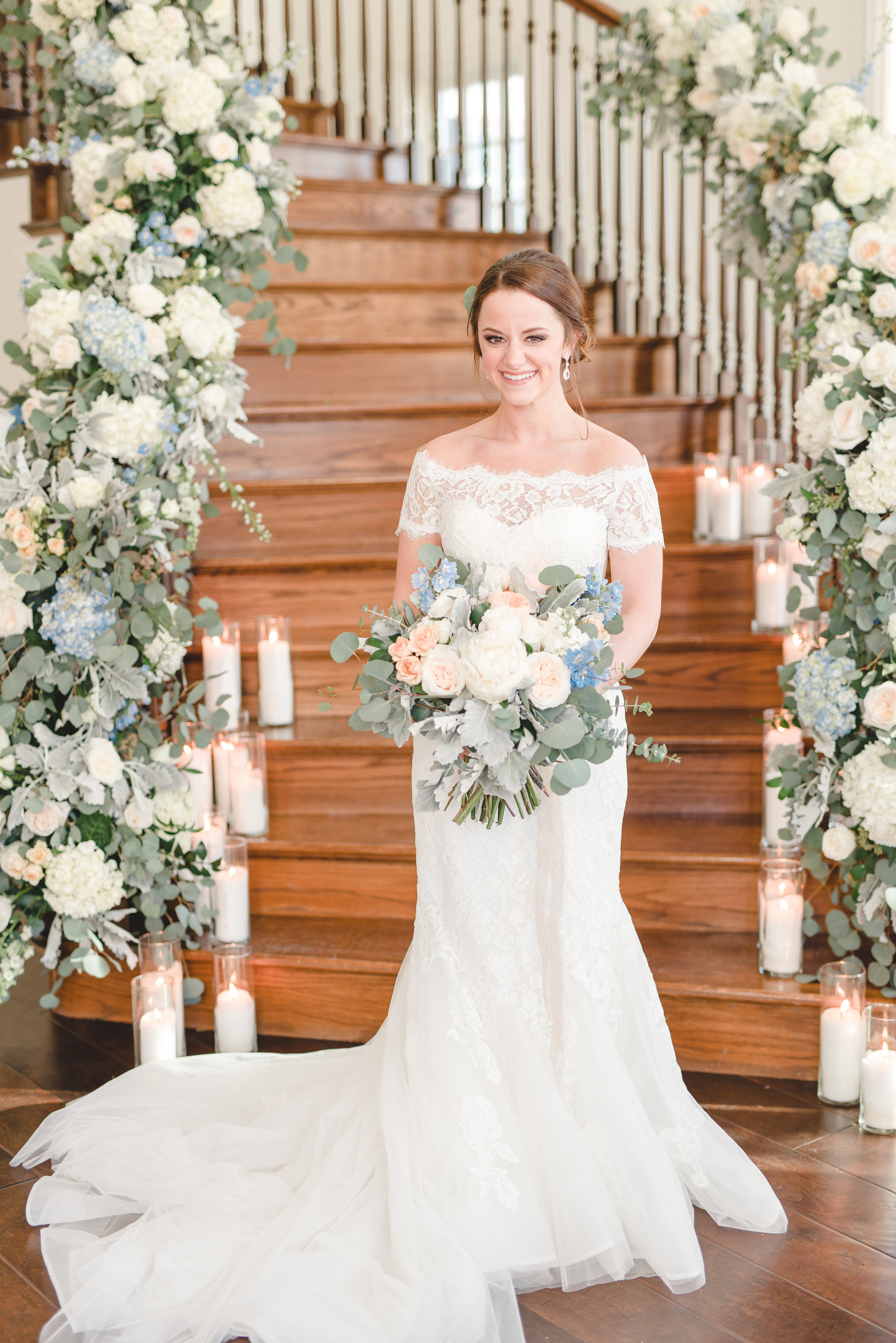 Wedding Floral Staircase Inspiration | Rose Gold and Dusty Blue Winter Wedding in Dallas, TX