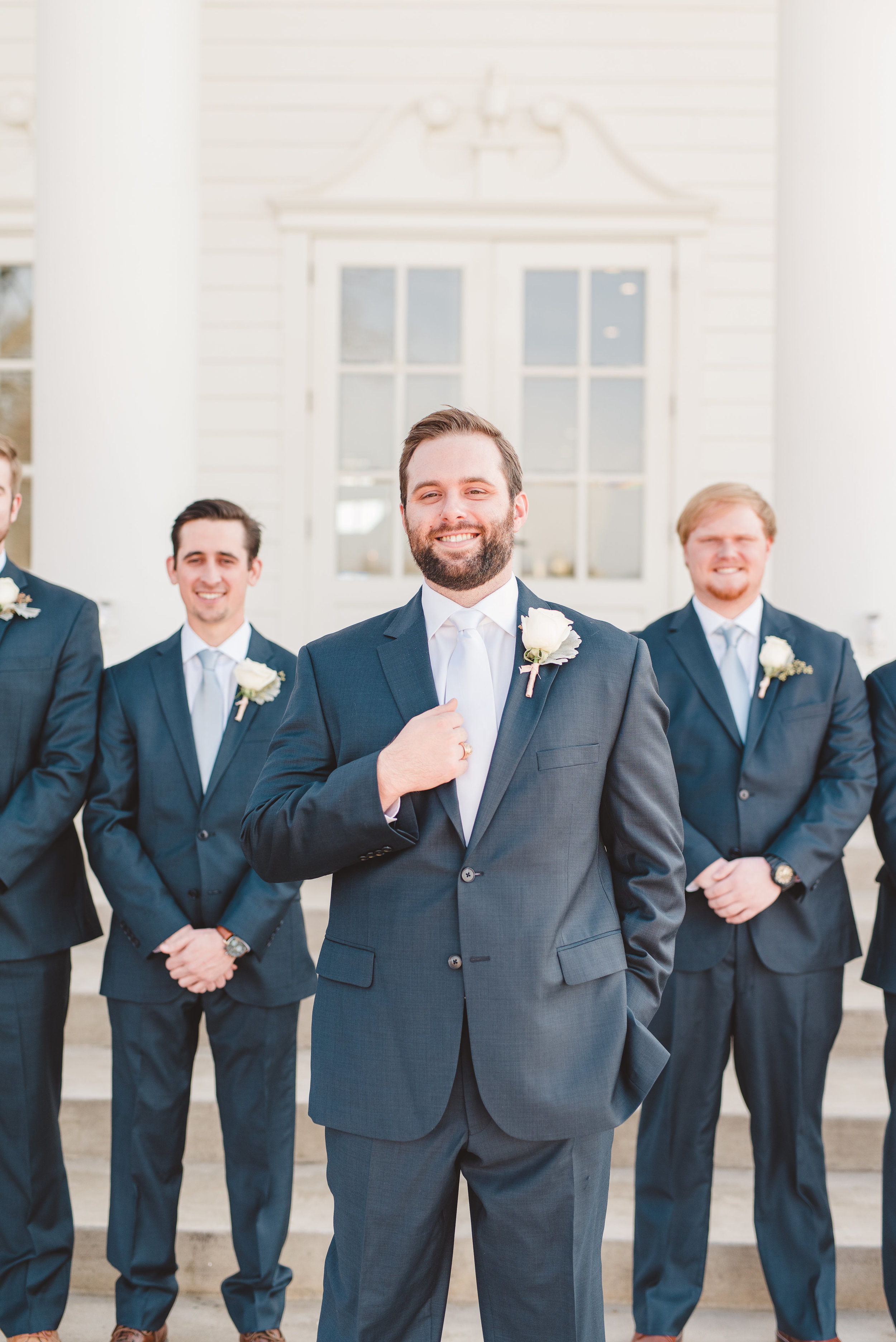 Navy Groomsmen Suits | Rose Gold and Dusty Blue Winter Wedding in Dallas, TX