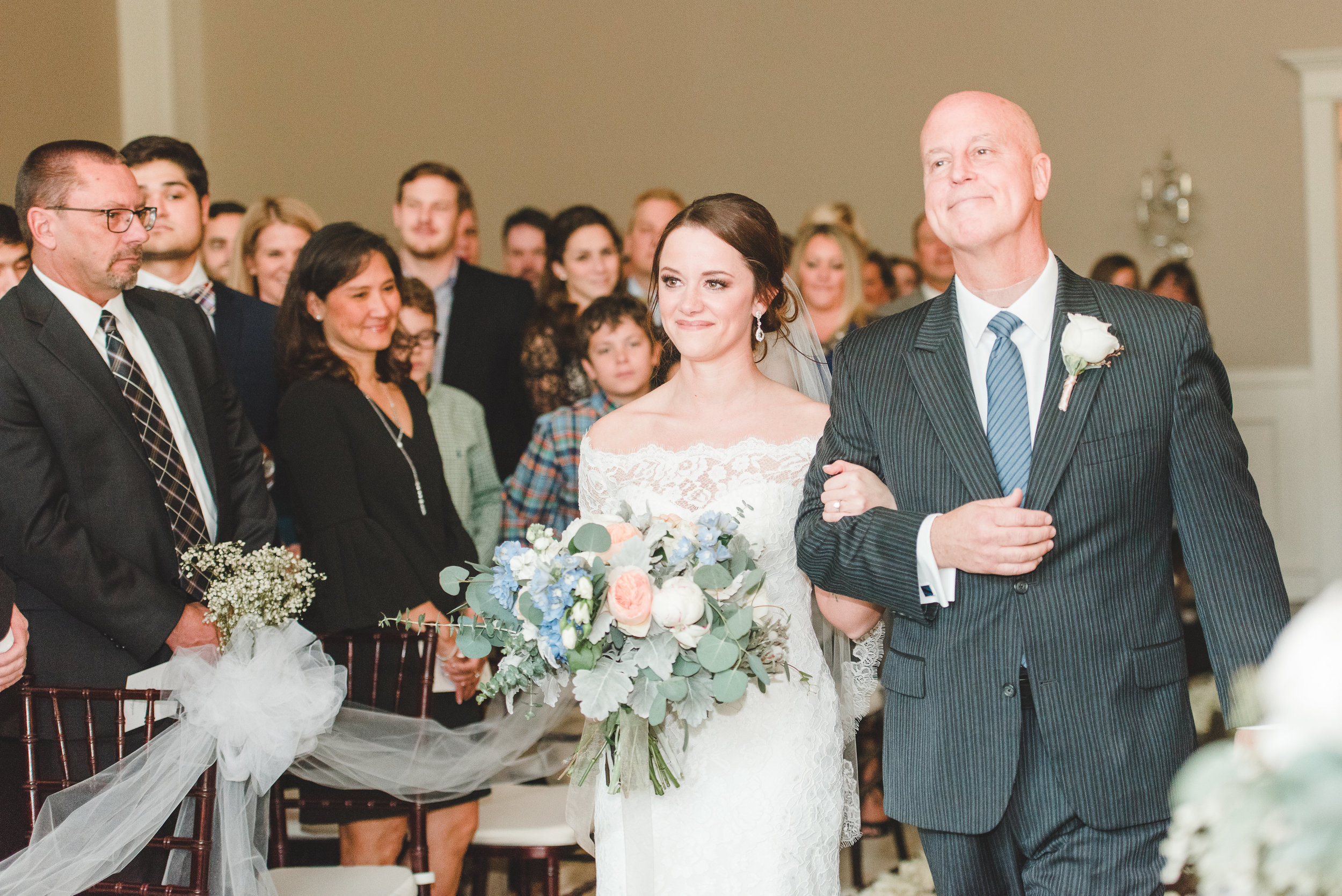 Coming Down the Aisle | Rose Gold and Dusty Blue Winter Wedding in Dallas, TX