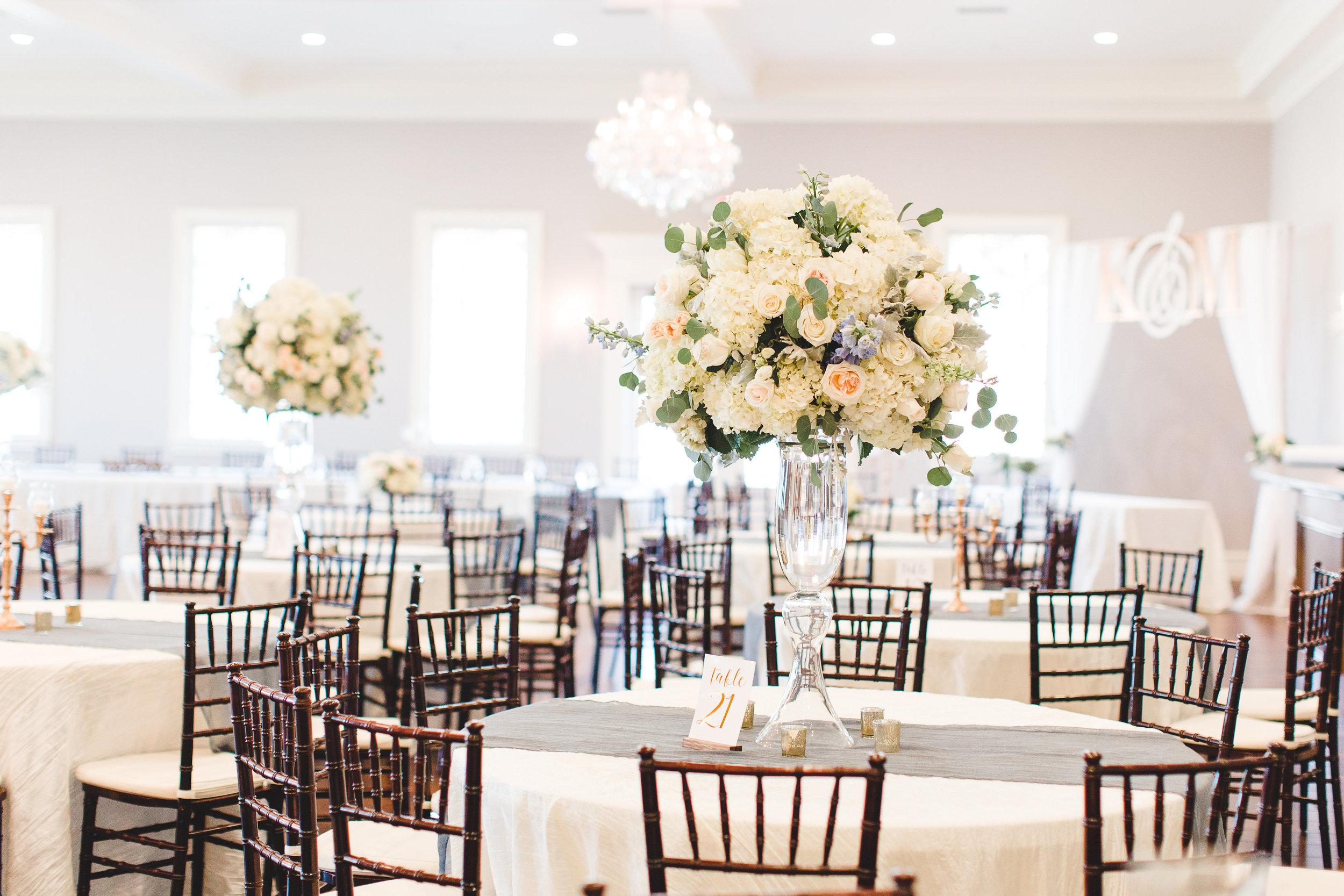 Indoor Winter Wedding Reception | Rose Gold and Dusty Blue Winter Wedding in Dallas, TX