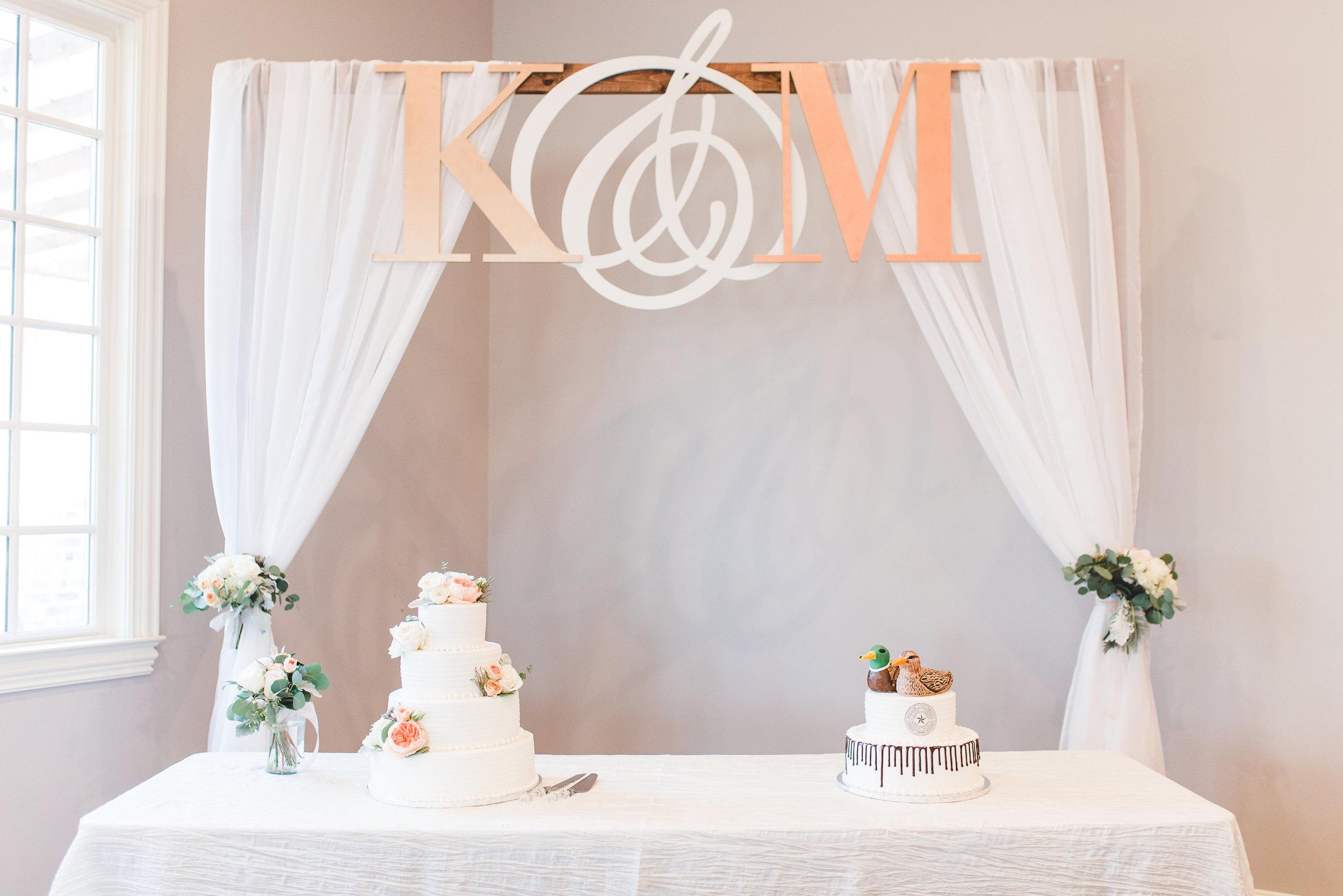 Custom Cake Backdrop | Rose Gold and Dusty Blue Winter Wedding in Dallas, TX