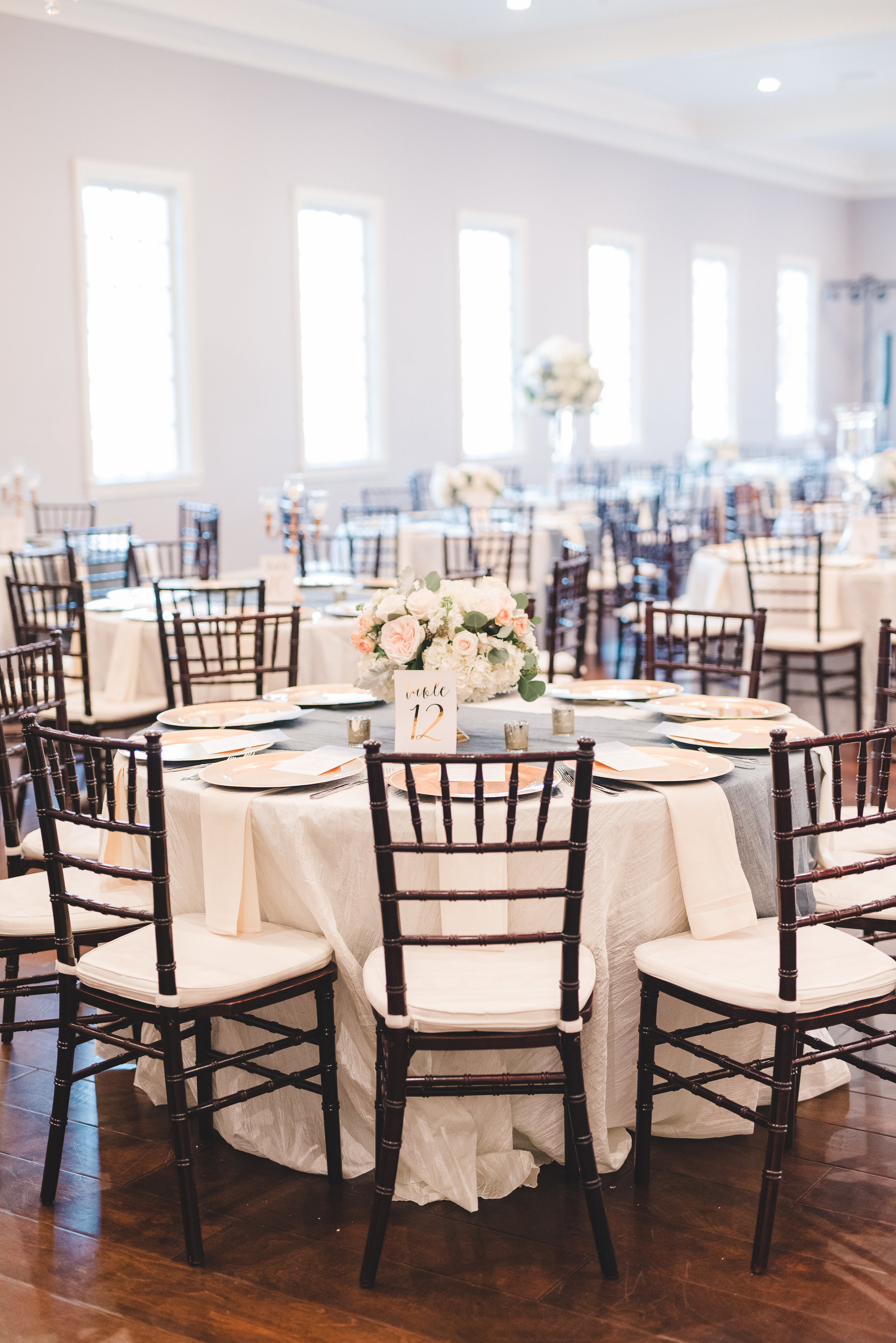 Simple Southern Wedding Reception Design | Rose Gold and Dusty Blue Winter Wedding in Dallas, TX