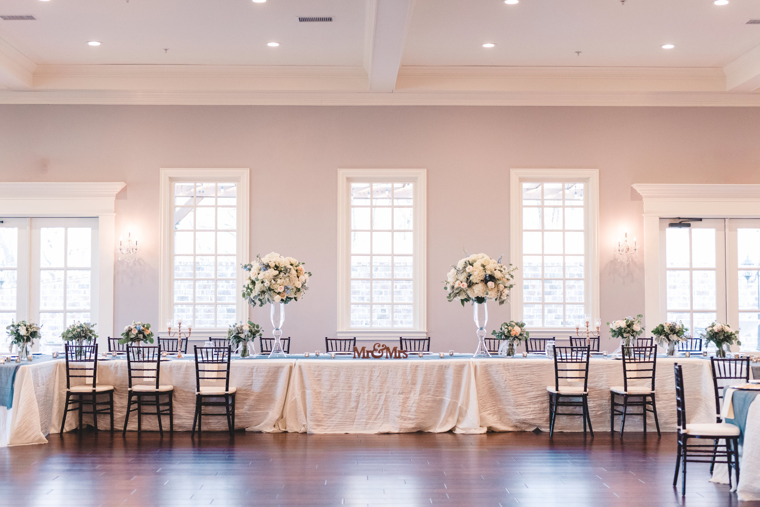 Head Table Design | Rose Gold and Dusty Blue Winter Wedding in Dallas, TX