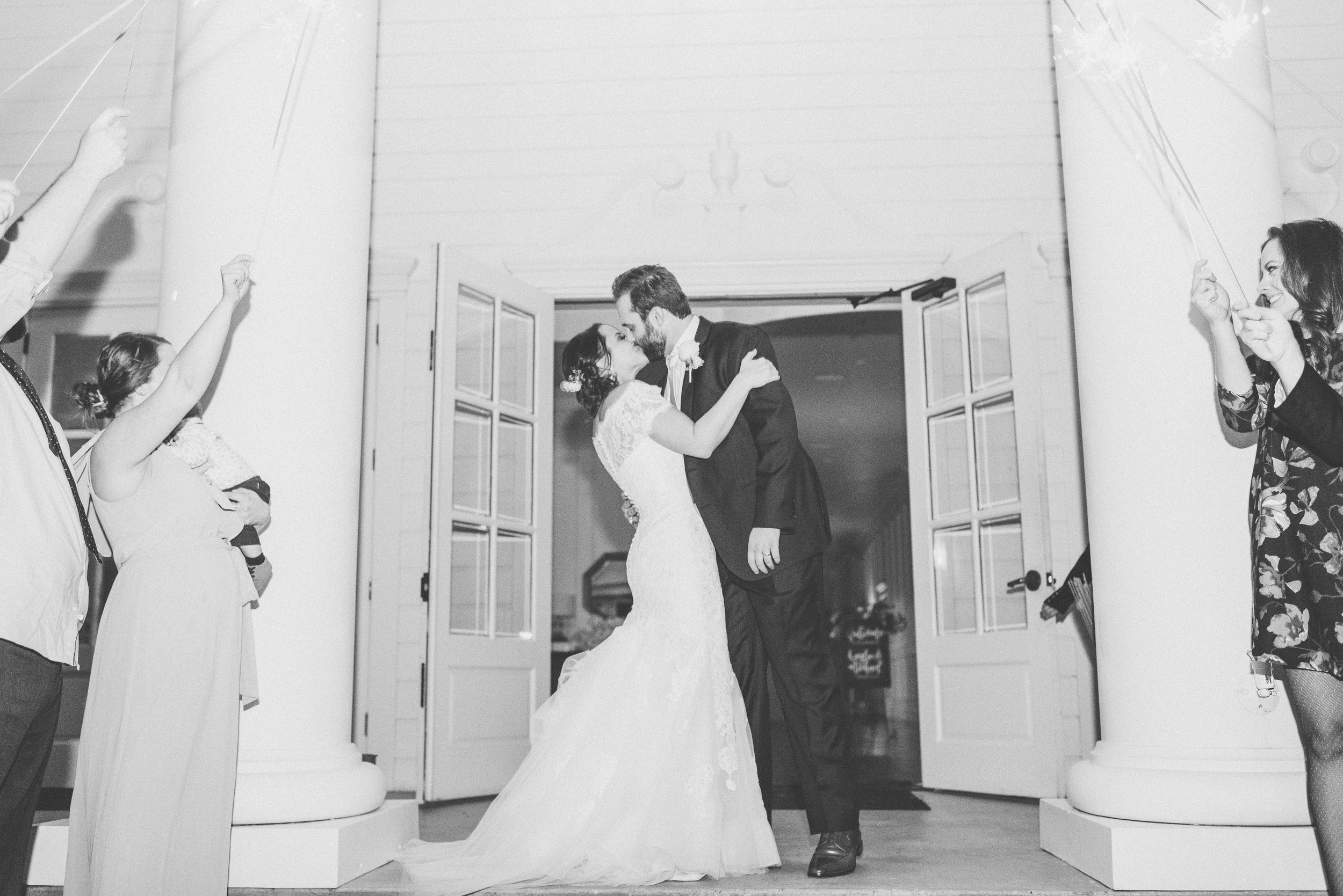 Wedding Sparkler Exit Bride and Groom | Rose Gold and Dusty Blue Winter Wedding in Dallas, TX
