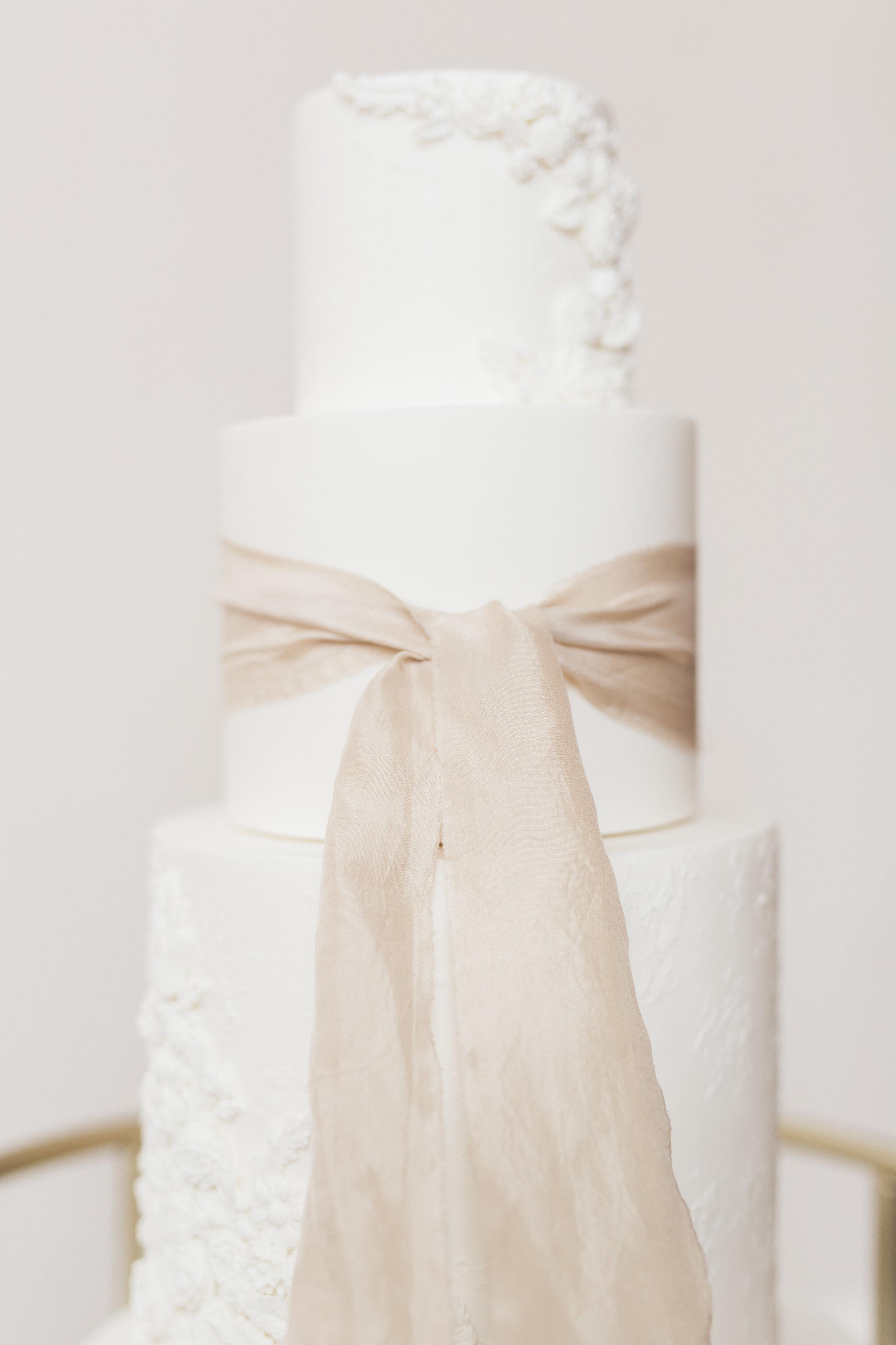 Textured White Wedding Cake   European Inspired Winter Wedding