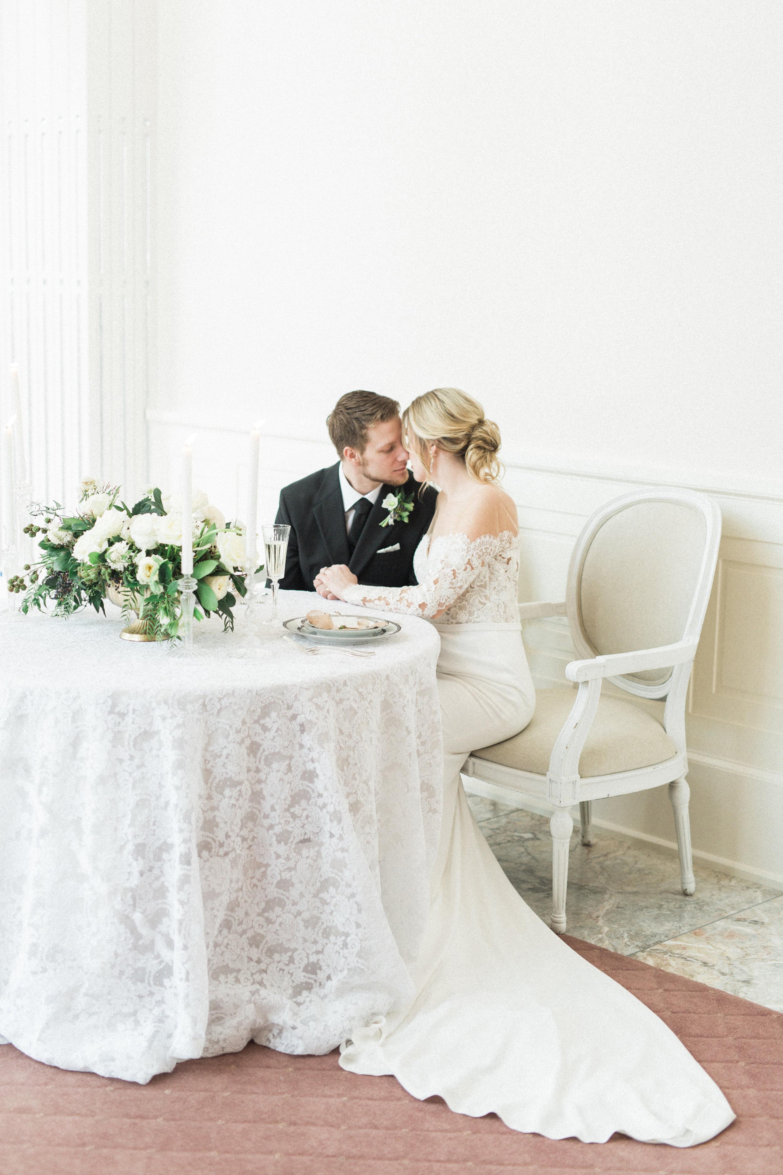 Intimate Wedding Sweetheart Table   Fine Art European Inspired Winter Wedding
