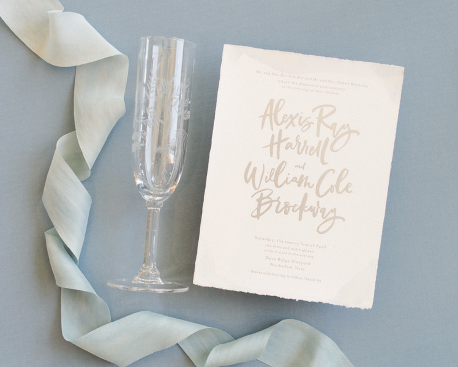 Deckled Edge Wedding Invitations | Spring Texas Vineyard Wedding